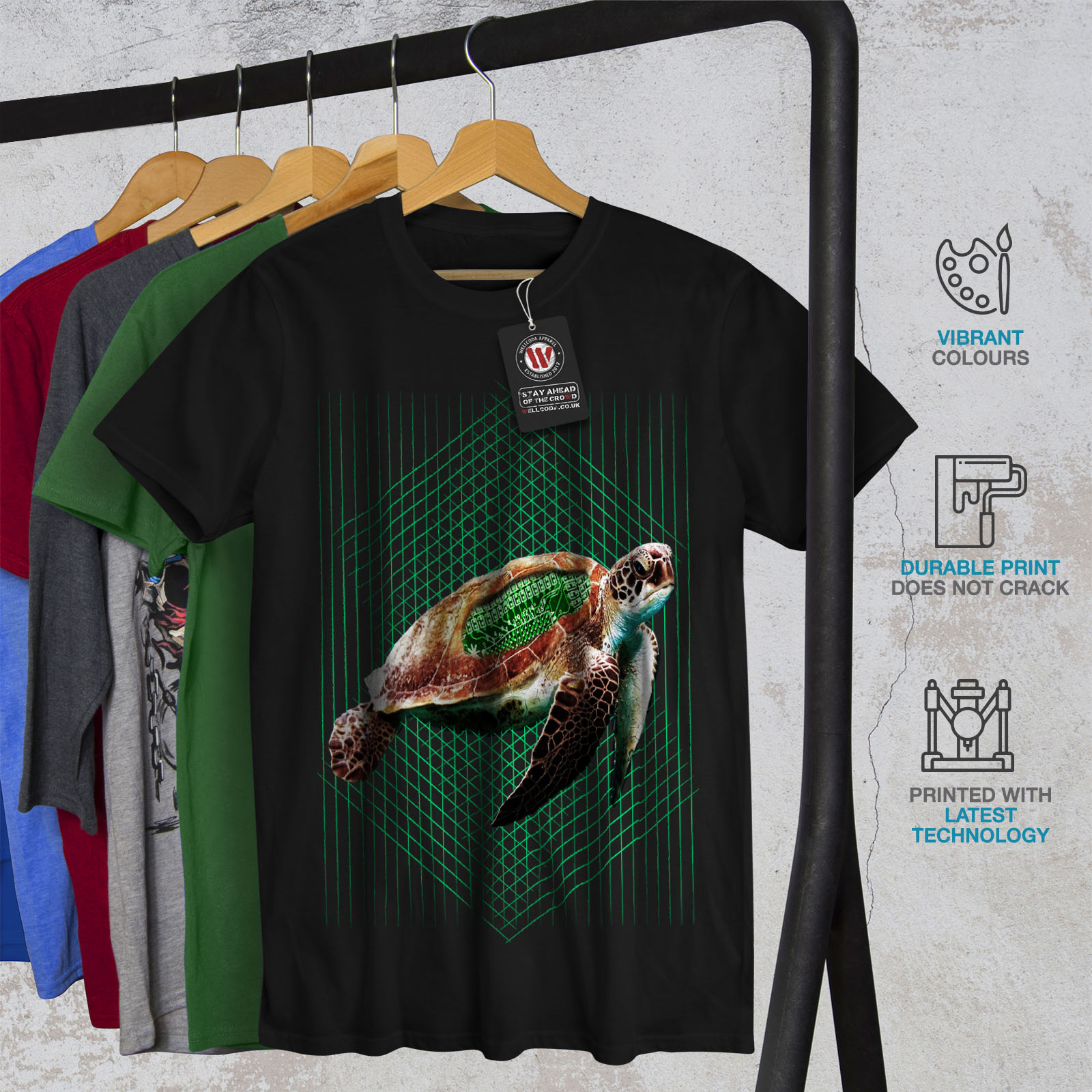 tartaruga design grafico stampato T-shirt Wellcoda Tartaruga Marina progammer Da Uomo T-shirt