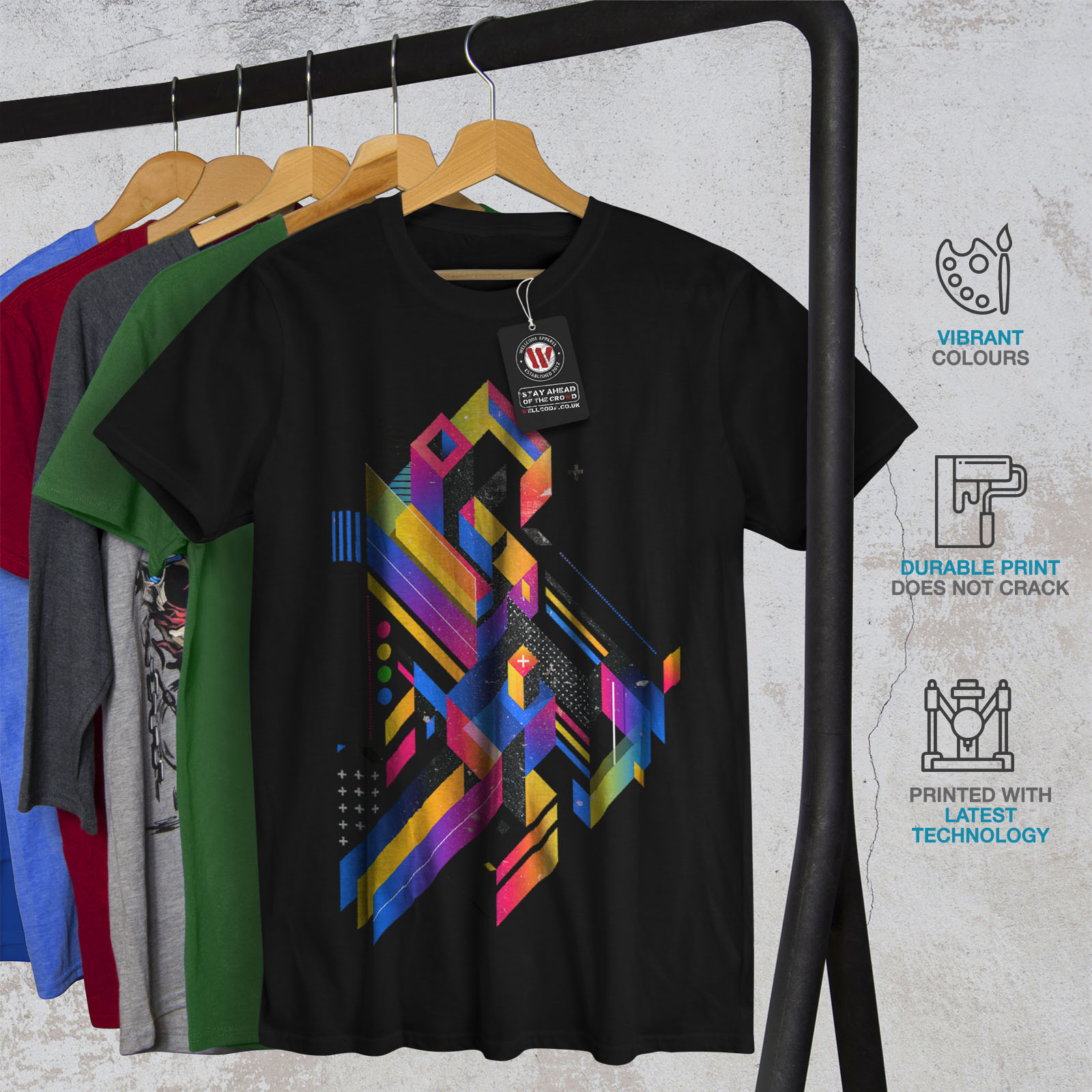 Wellcoda-Abstract-Maze-T-shirt-homme-Labyrinthe-conception-graphique-imprime-Tee miniature 6