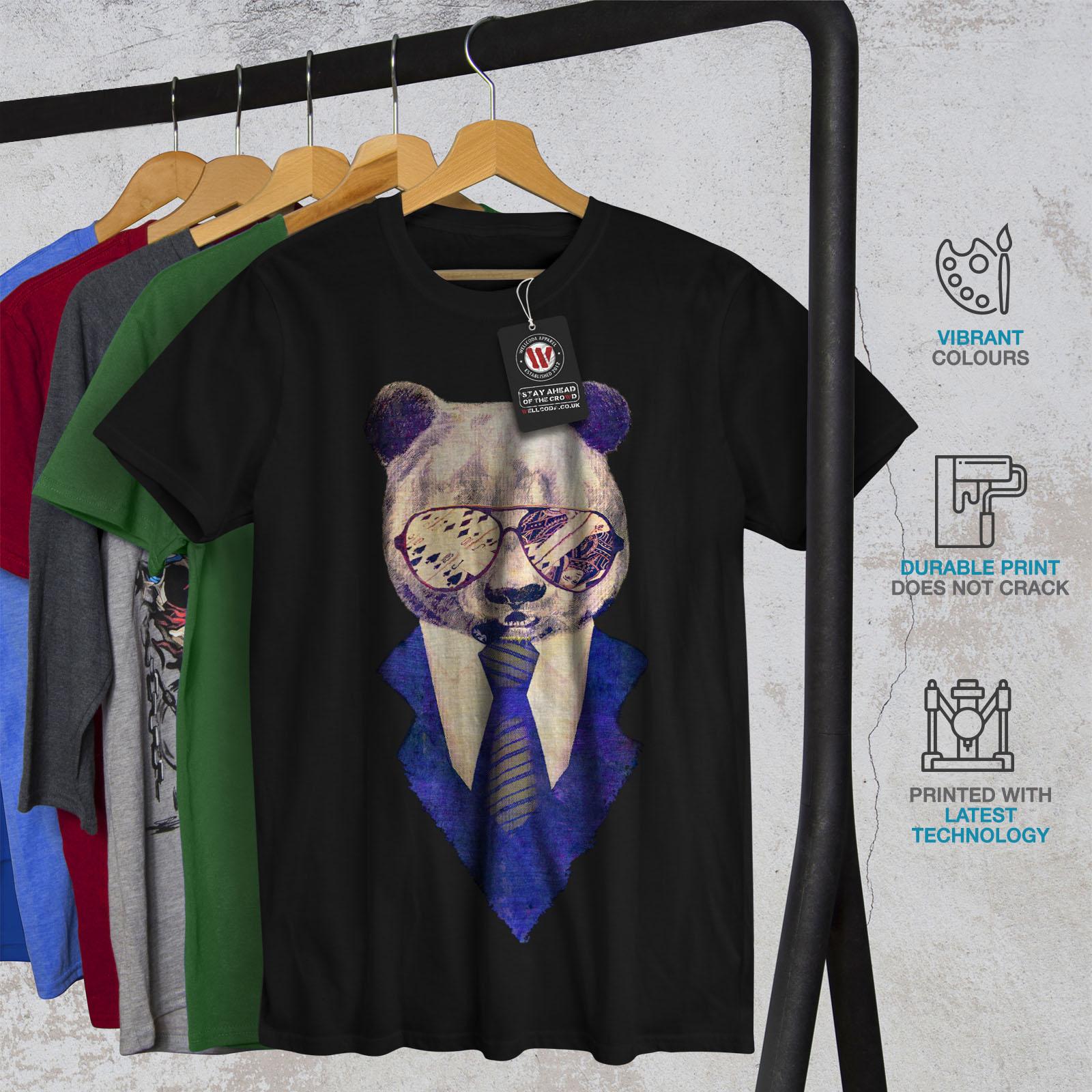 Wellcoda Music Fan Panda Bear Mens T-shirt Funky Graphic Design Printed Tee