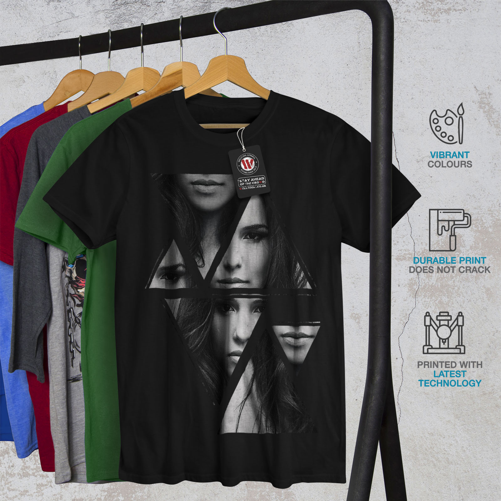 Wellcoda-Art-Fashion-Face-T-shirt-homme-Abstract-Design-graphique-imprime-Tee miniature 6