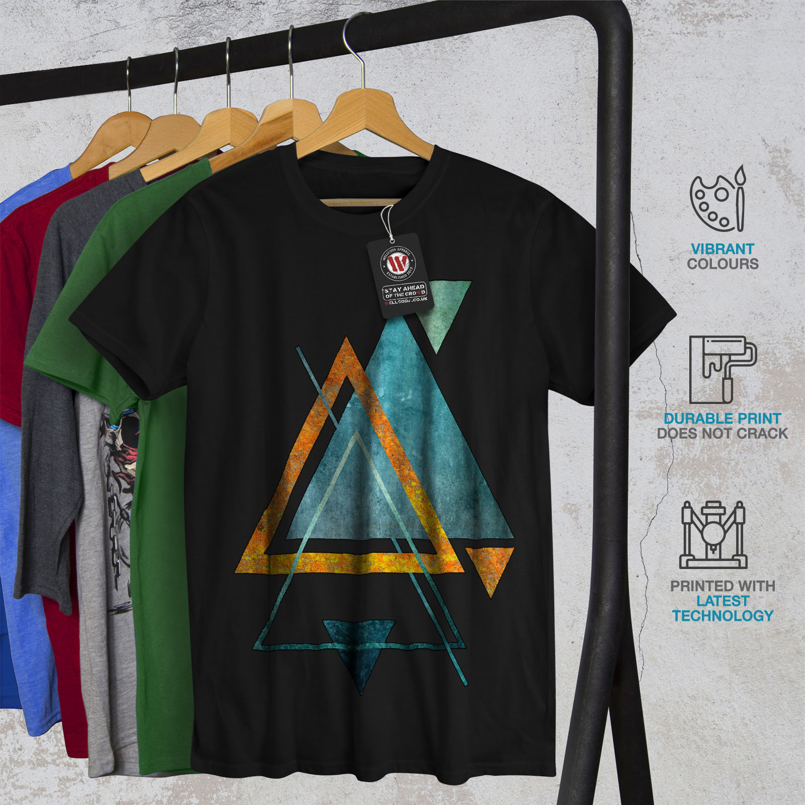 Wellcoda-Abstract-Triangle-T-shirt-homme-forme-design-graphique-imprime-Tee miniature 6
