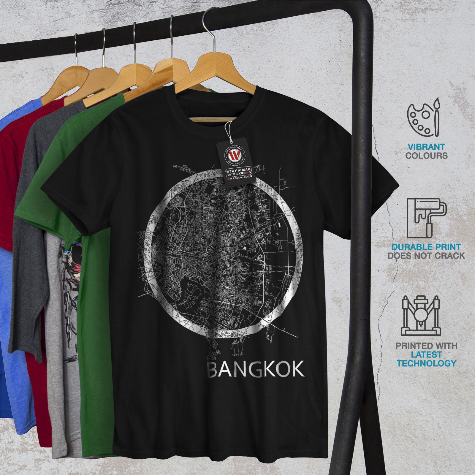 Wellcoda-Thailand-Bangkok-Map-Mens-T-shirt-Big-Graphic-Design-Printed-Tee thumbnail 6