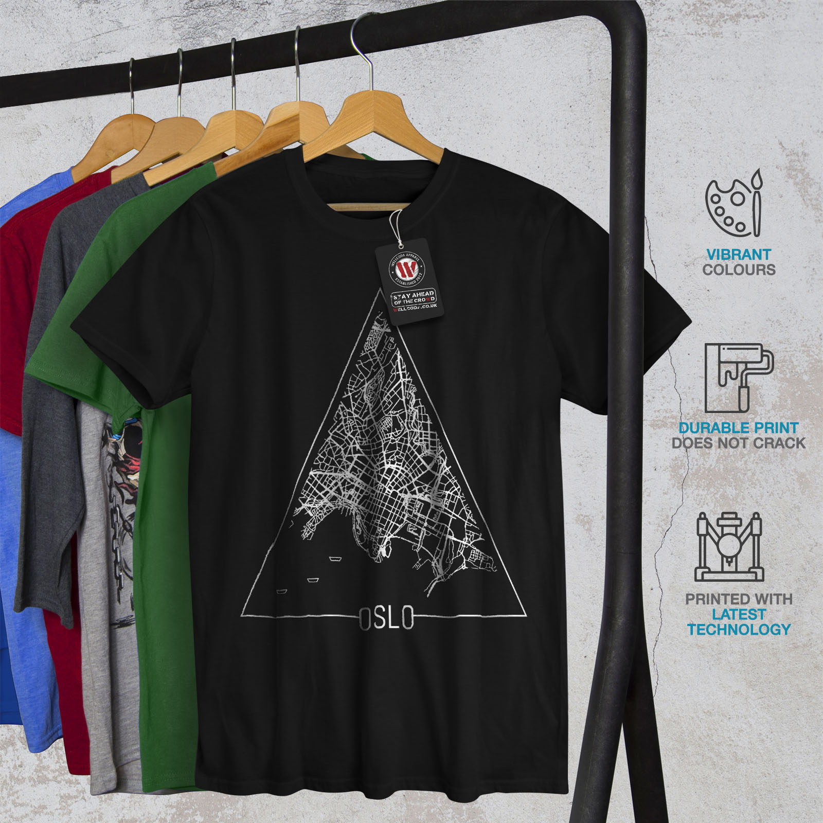 Wellcoda-Norvegia-Big-City-Oslo-da-uomo-T-shirt-Citta-design-grafico-stampato-T-shirt miniatura 6