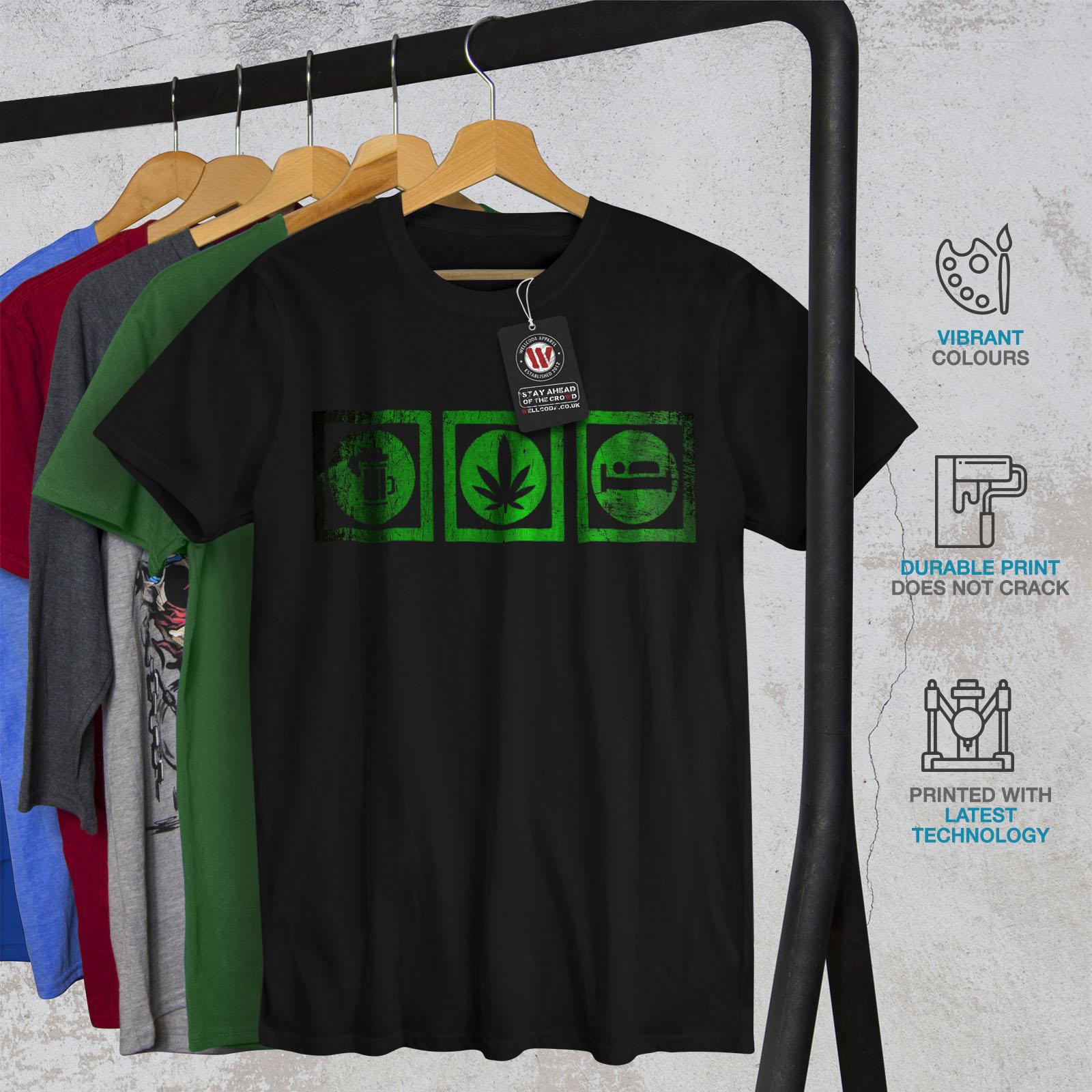 Wellcoda BIRRA ERBA SLEEP Divertente Uomo T-shirt Life design grafico stampato T-shirt
