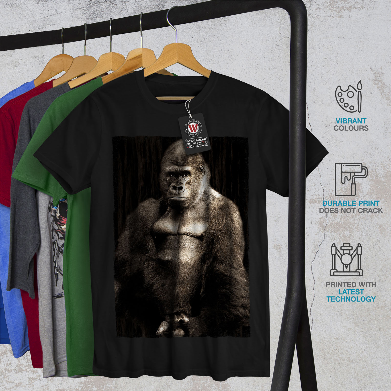 65ba8c74 Wellcoda Wild Animal Gorilla Mens T-shirt, King Graphic Design ...