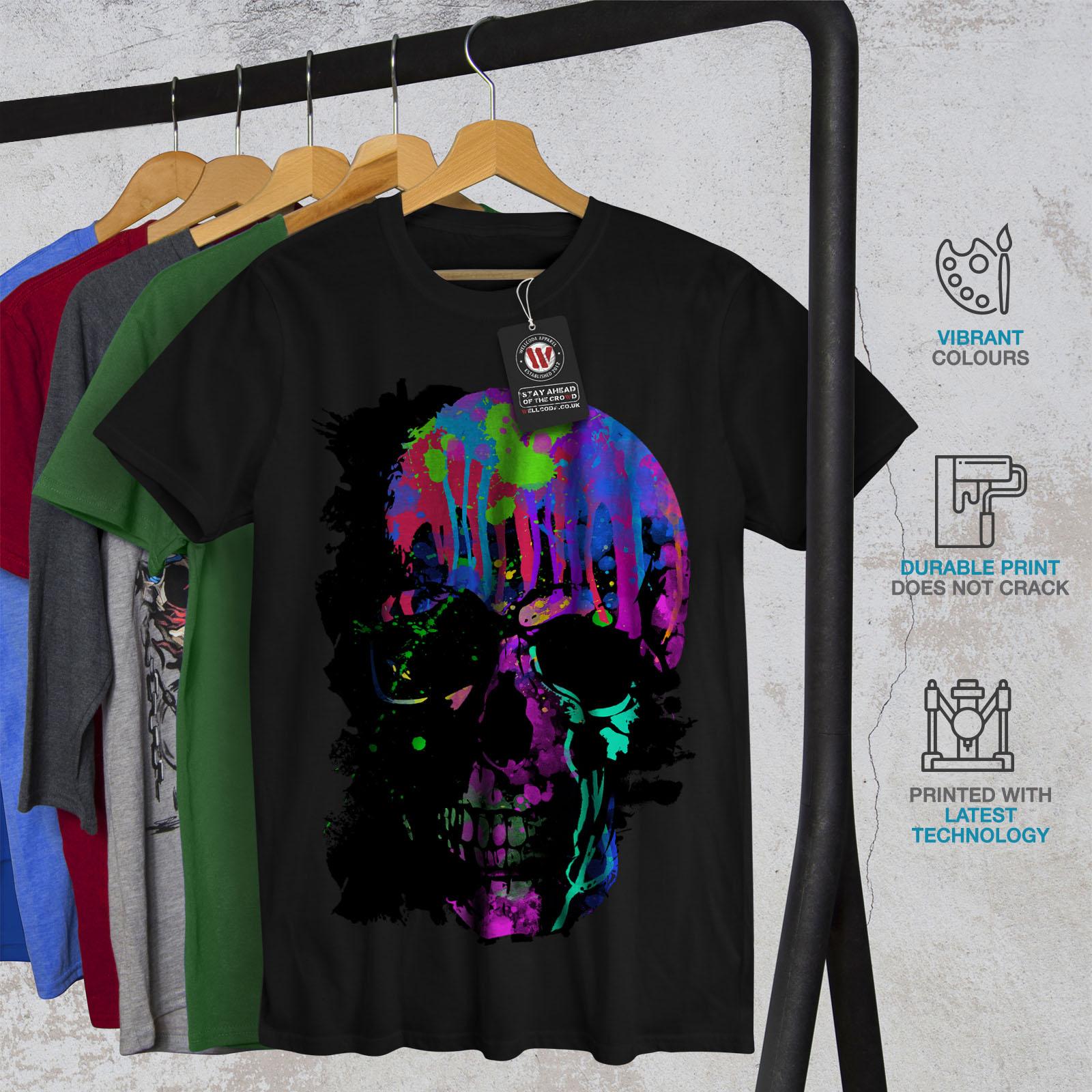Wellcoda-Skull-Artsy-Mens-T-shirt-Neon-Night-Graphic-Design-Printed-Tee thumbnail 6