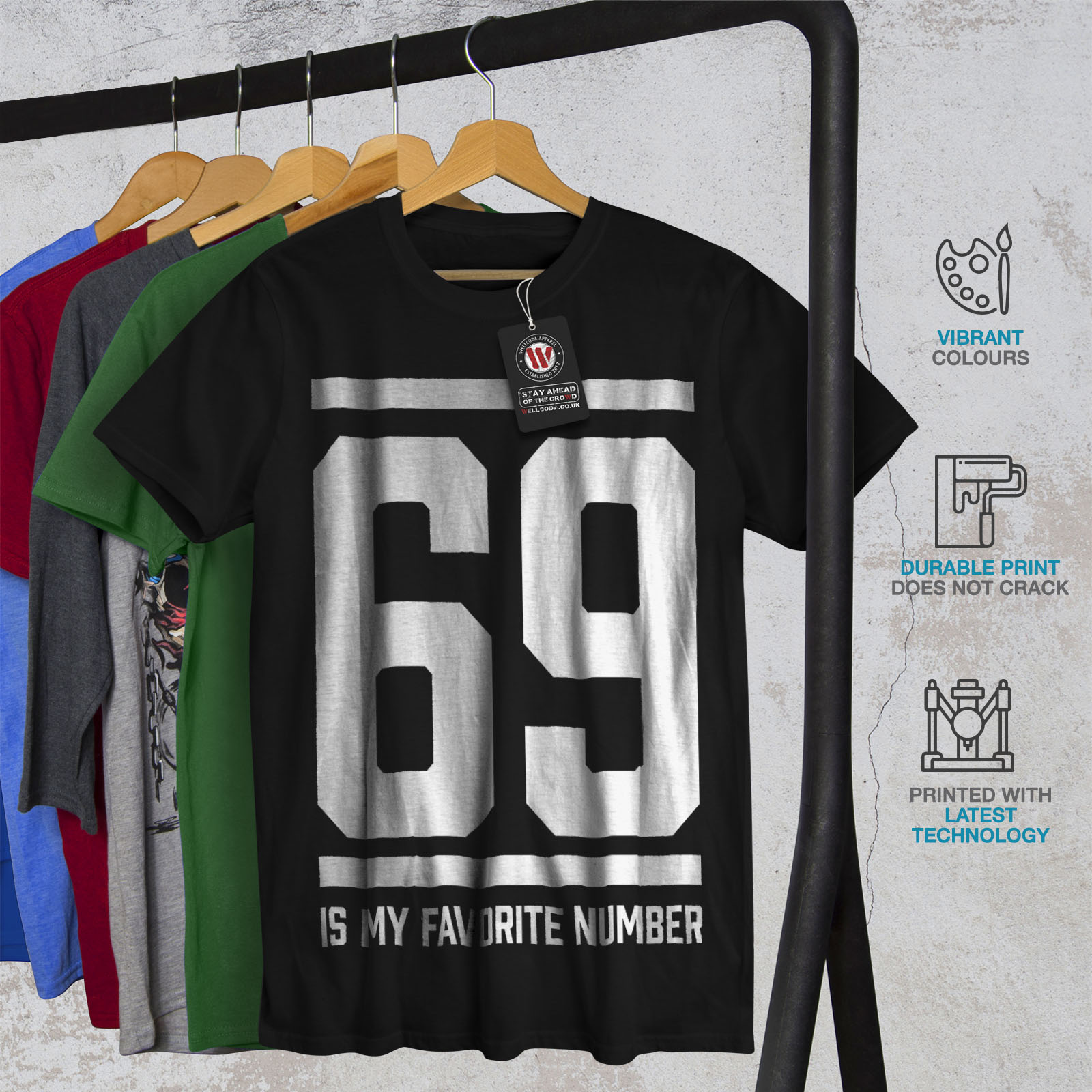 Wellcoda-69-Favorite-Number-Mens-T-shirt-Sports-Graphic-Design-Printed-Tee thumbnail 6