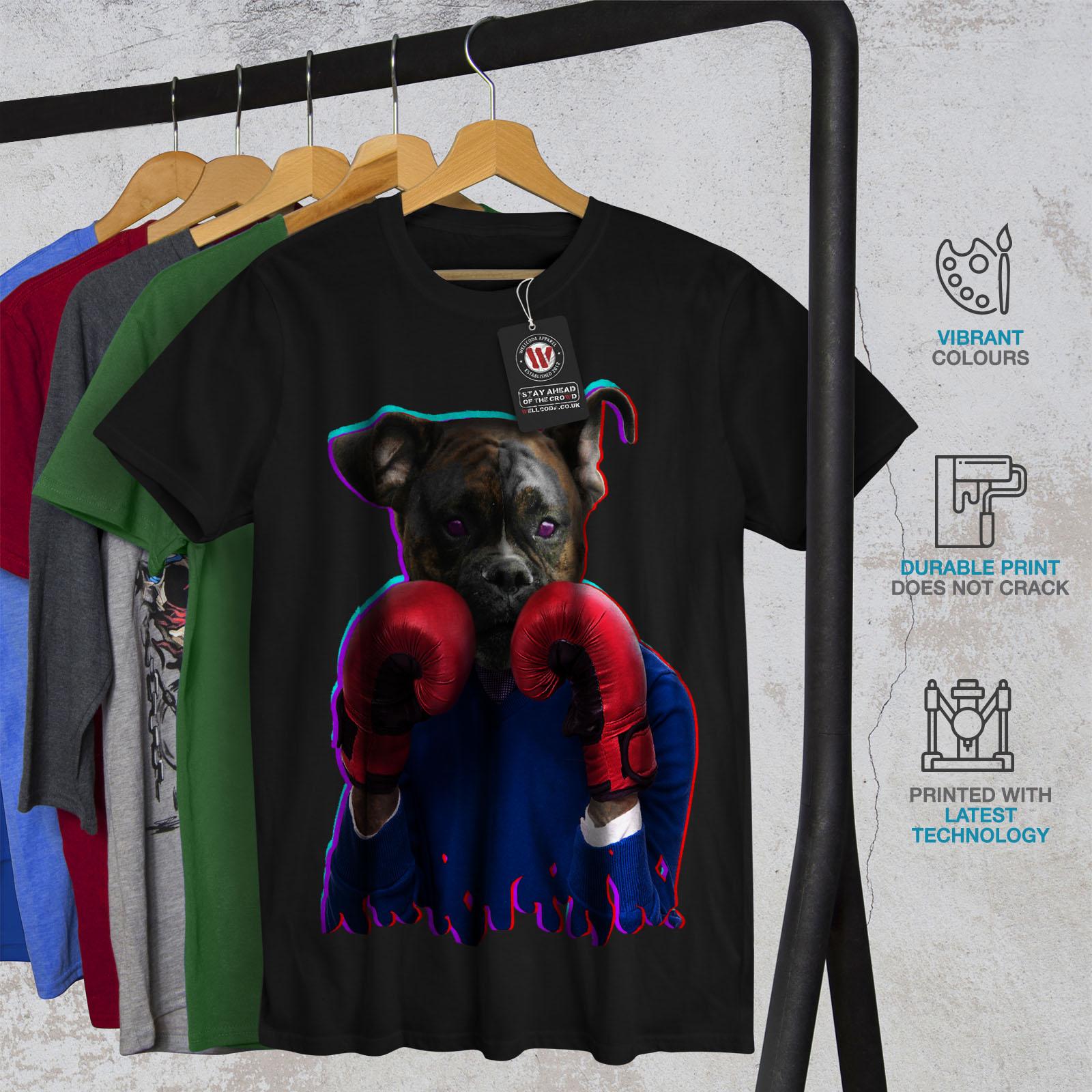 Puppy Graphic Design Wellcoda Boxer Animal Funny Dog Mens Long Sleeve T-shirt
