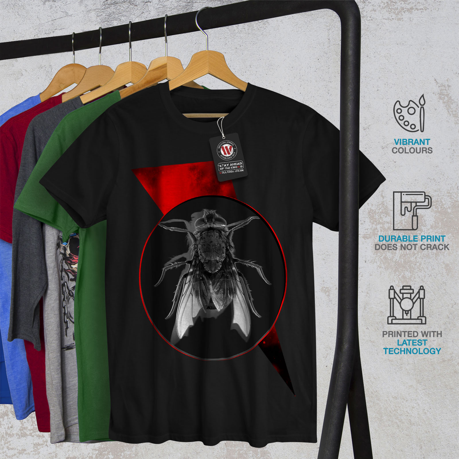 Wellcoda Fly Bug Insect Animal Mens T-shirt Insect Graphic Design Printed Tee