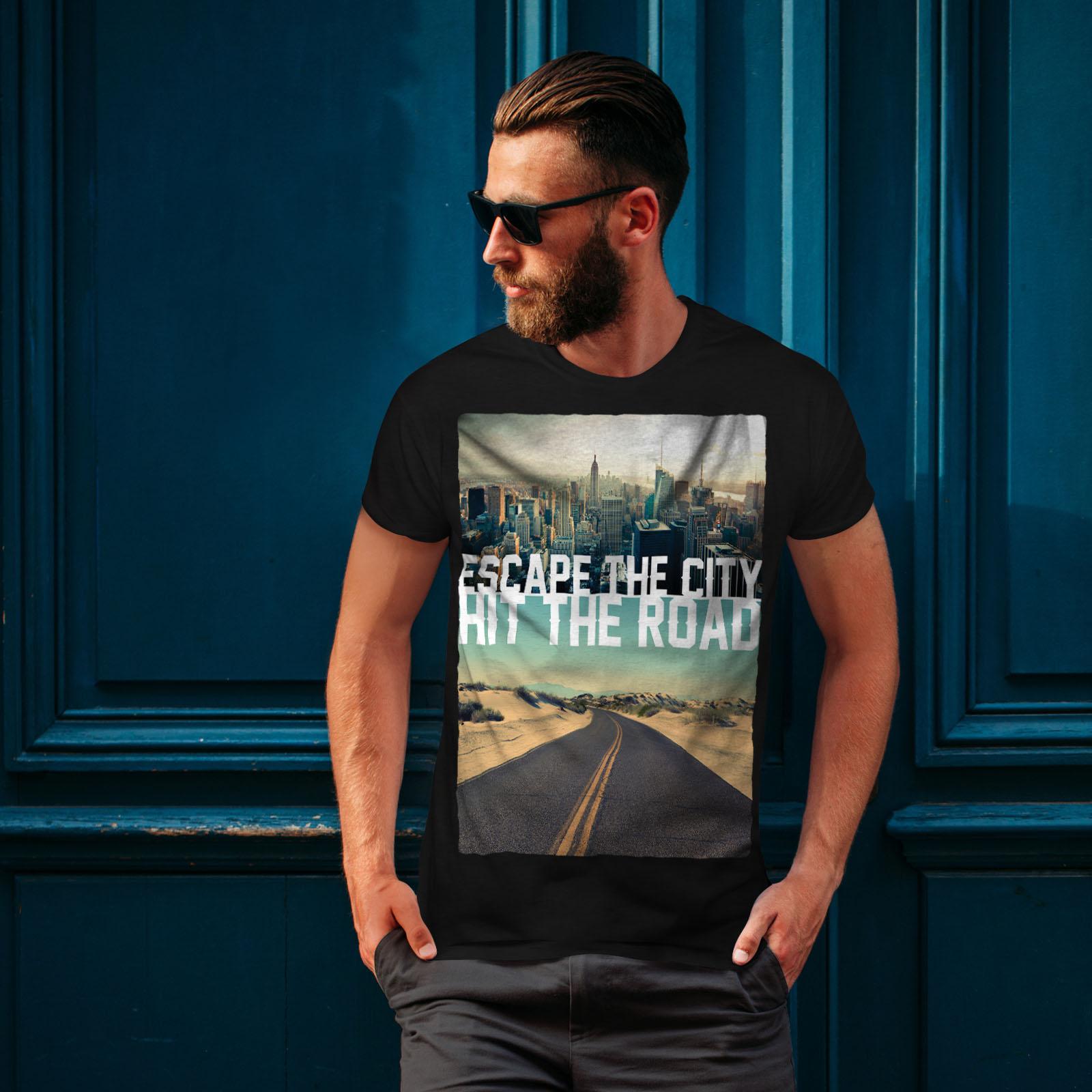 Wellcoda-Escape-The-City-Herren-T-Shirt-Lifestyle-Grafikdesign-Printed-Tee Indexbild 4