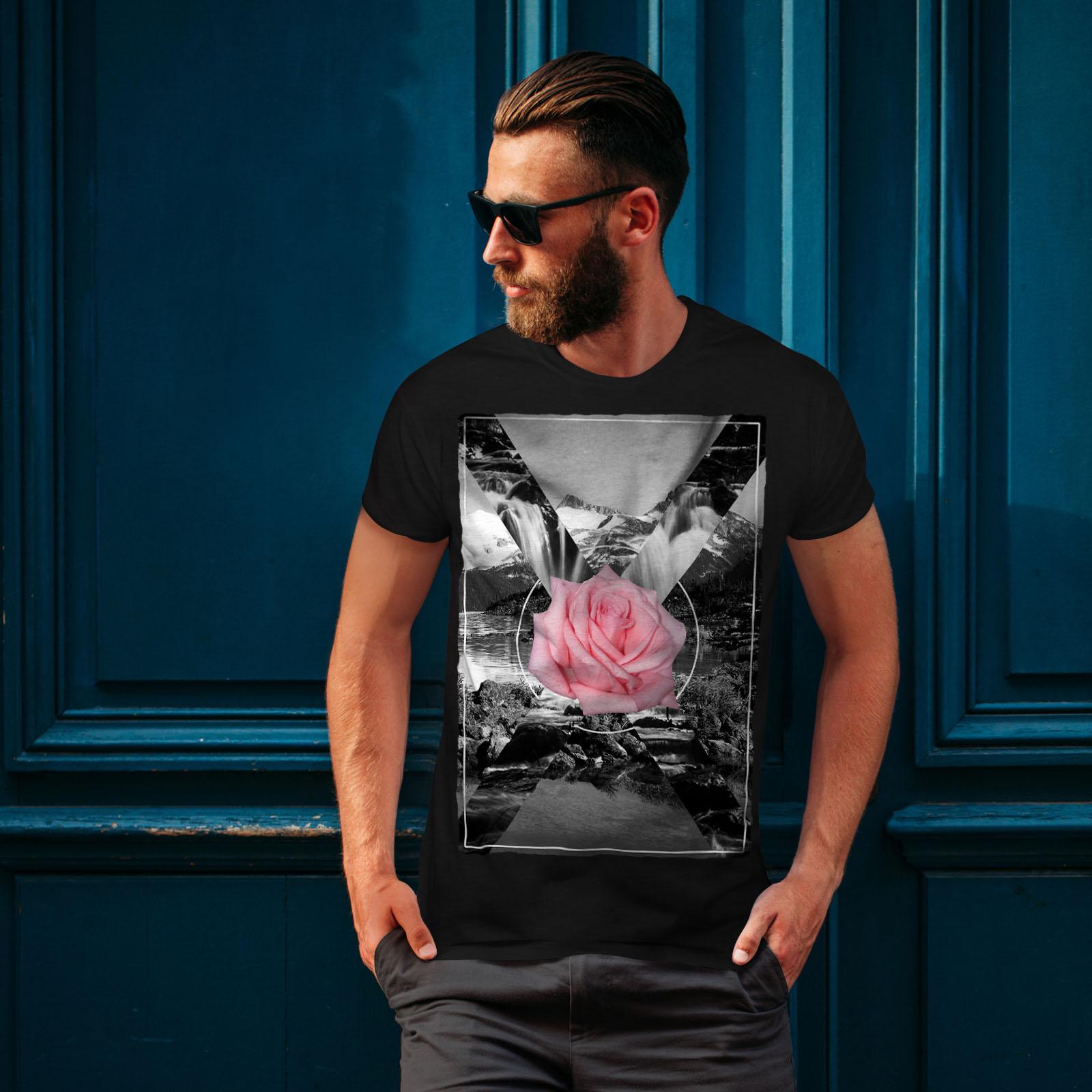 Wellcoda Yellow Rose Photo Mens T-shirt Flower Graphic Design Printed Tee