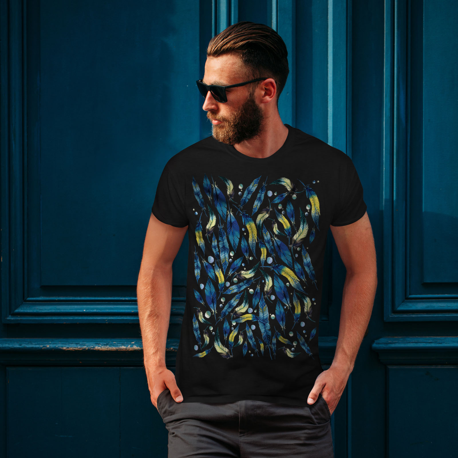 Wellcoda-fashion-Plumes-T-shirt-homme-Abstract-Design-graphique-imprime-Tee miniature 4