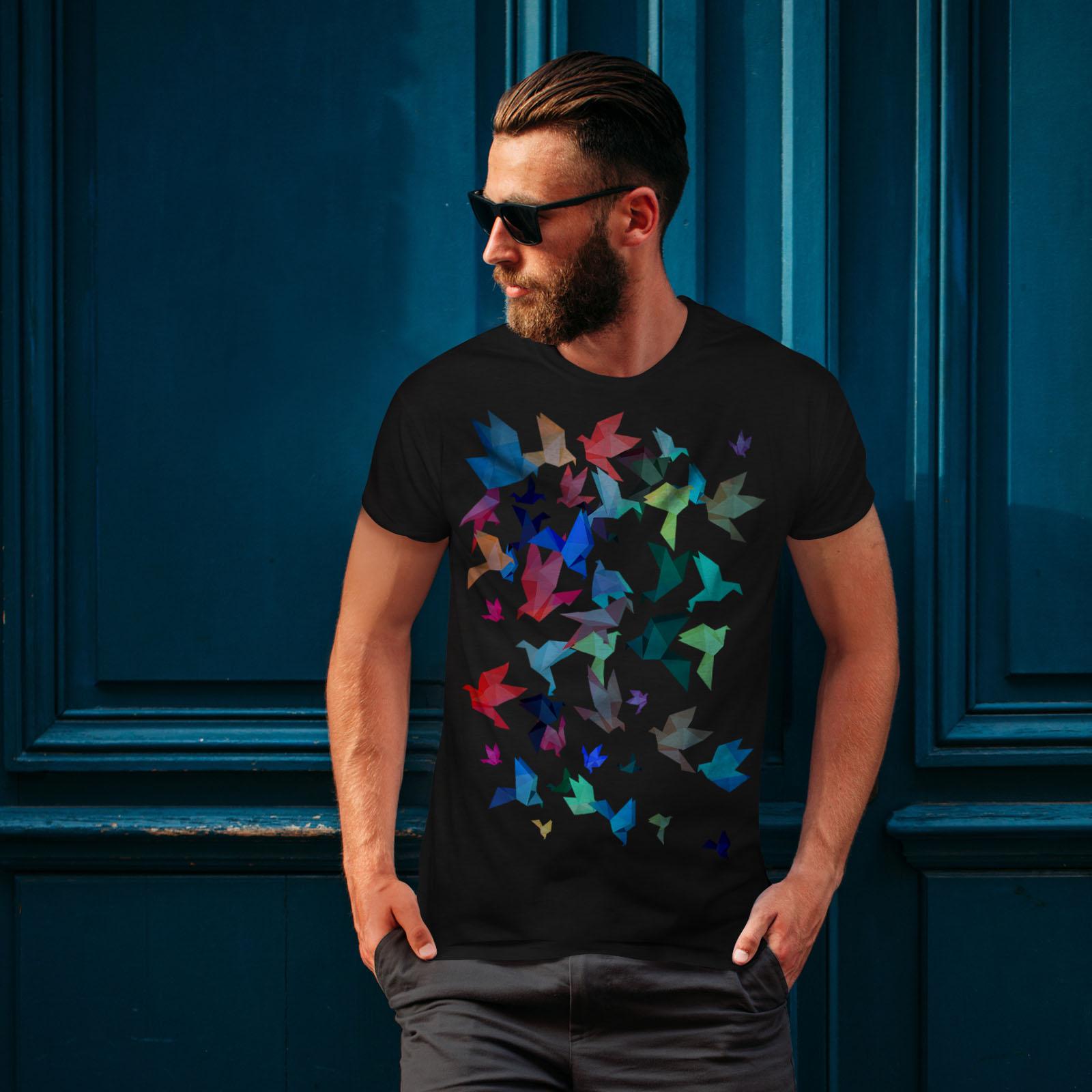 Wellcoda-Origami-Bird-Colors-Mens-T-shirt-Craft-Graphic-Design-Printed-Tee thumbnail 4
