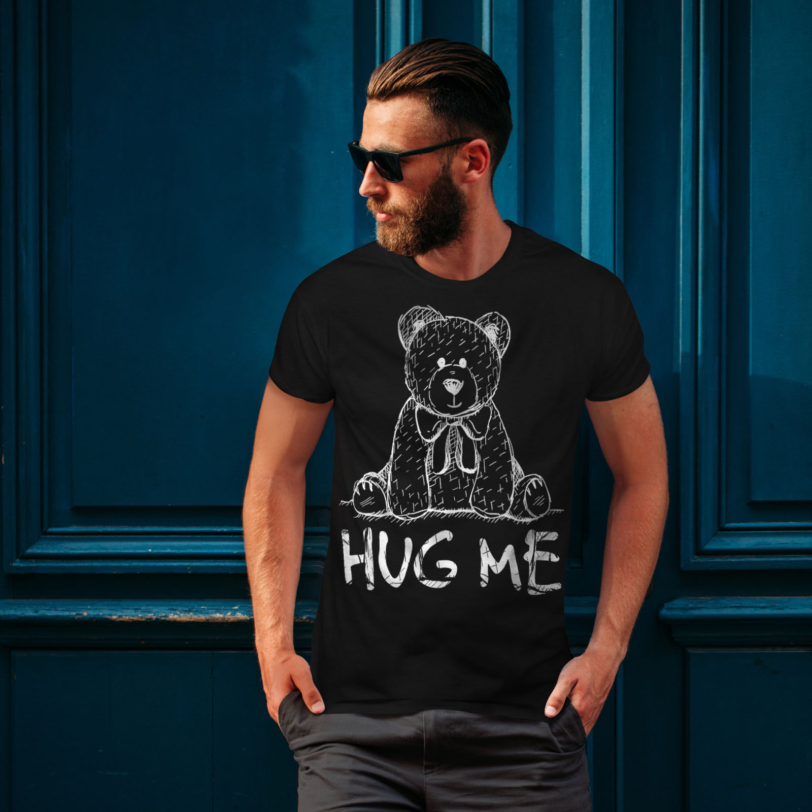 miniature 4 - Wellcoda Hug Me Teddy Bear Mens T-shirt, Nice & Graphic Design Printed Tee