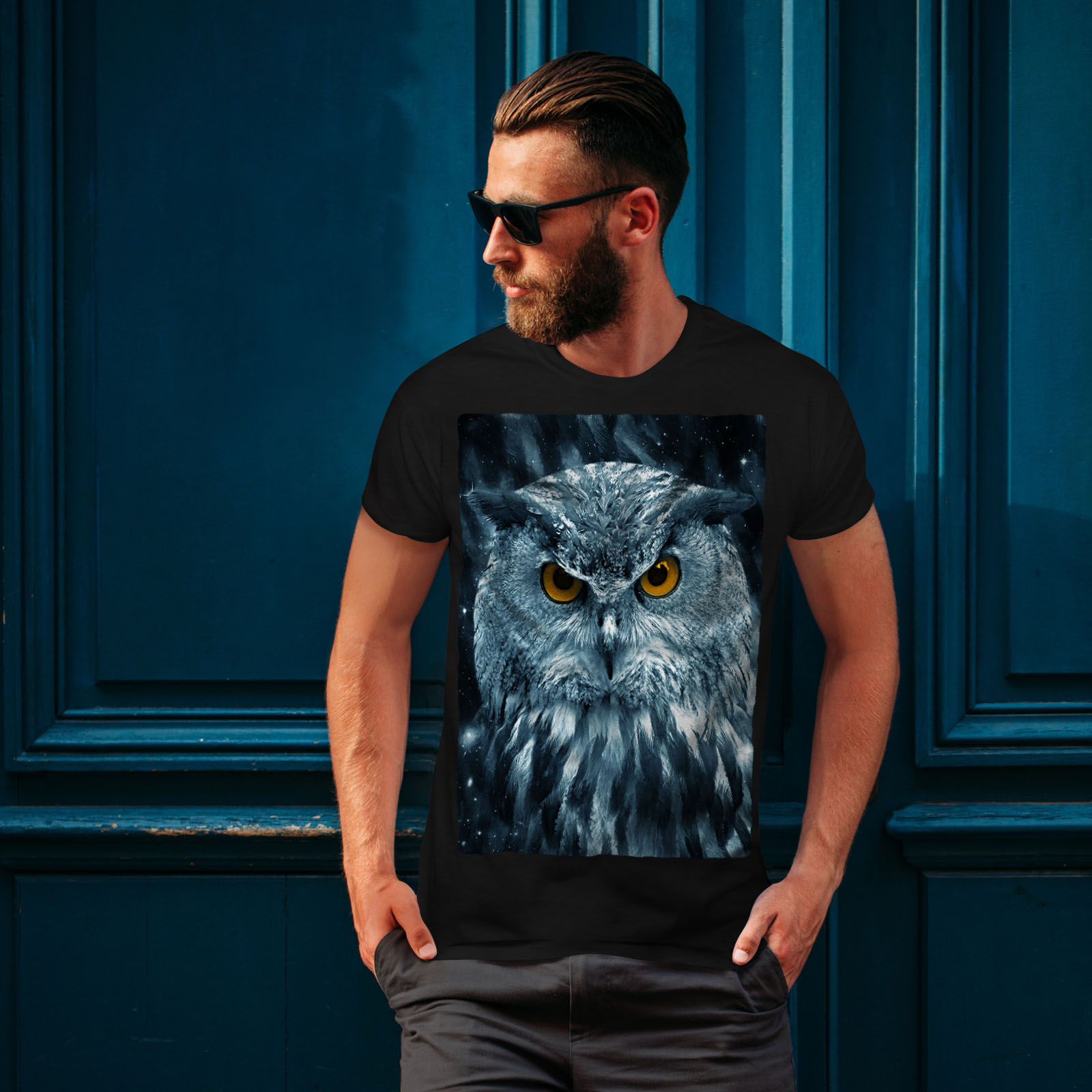 miniature 4 - Wellcoda-Wild-Looking-Owl-Mens-T-shirt-Mother-Graphic-Design-Printed-Tee
