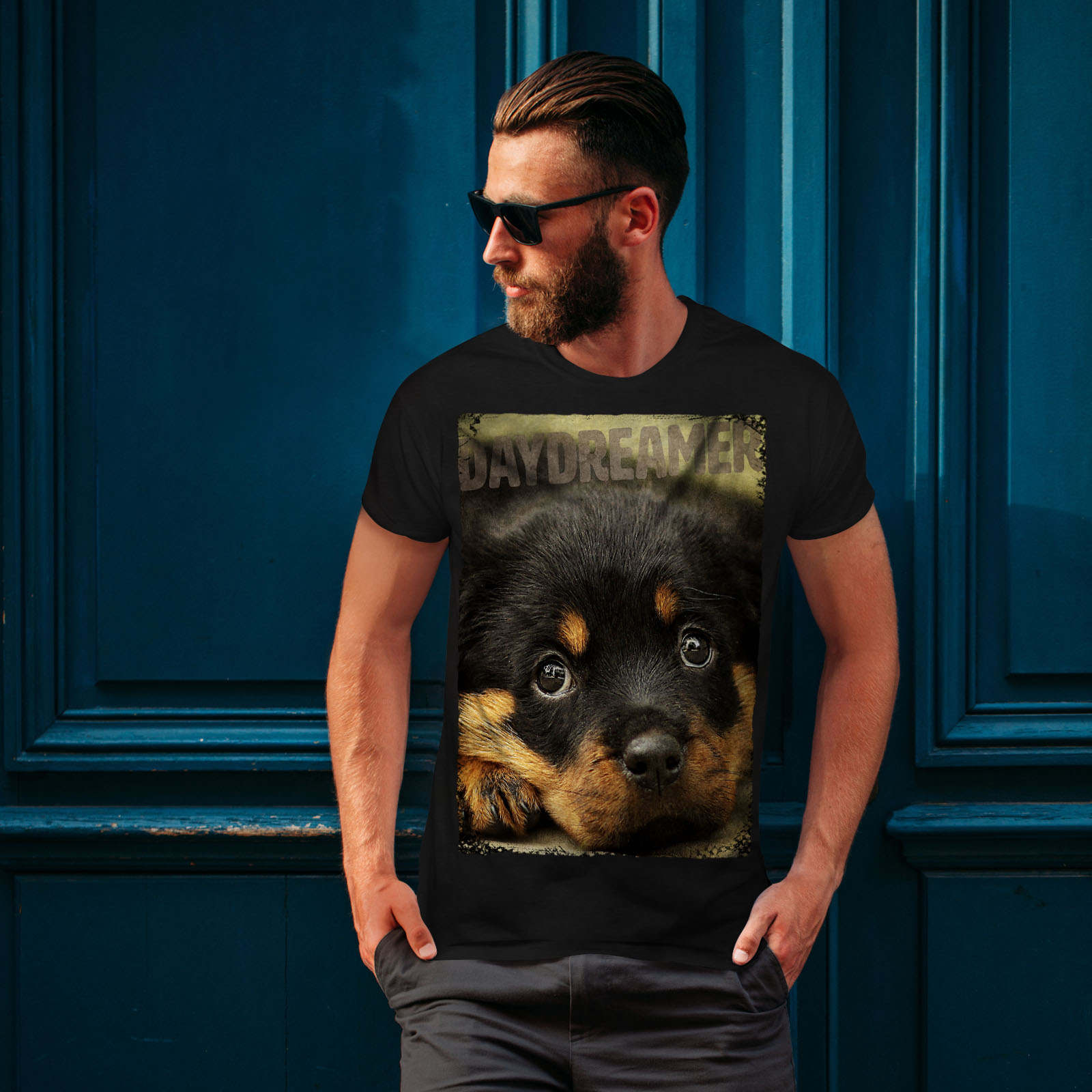 Pup Graphic Design Printed Tee Wellcoda Daydreamer Puppy Cute Dog Mens T-shirt