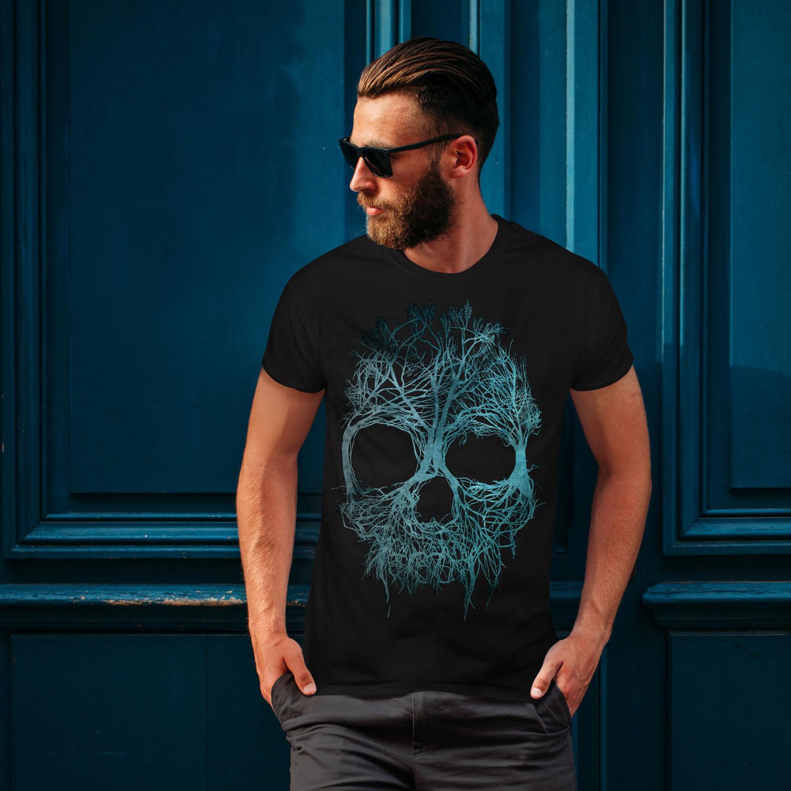 Wellcoda Nature Tree Metal Skull Mens T-shirt Angel Graphic Design Printed Tee