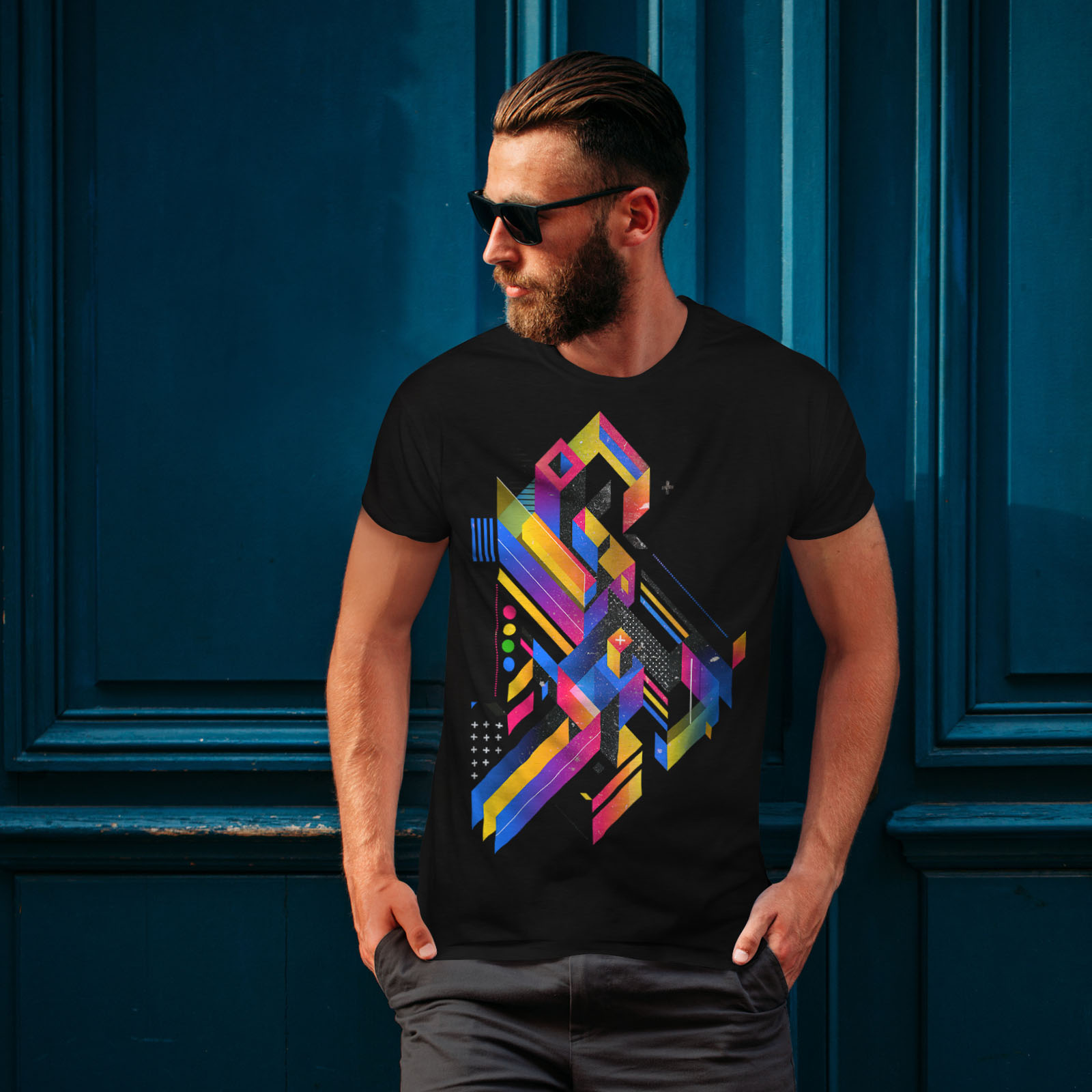 Wellcoda-Abstract-Maze-T-shirt-homme-Labyrinthe-conception-graphique-imprime-Tee miniature 4