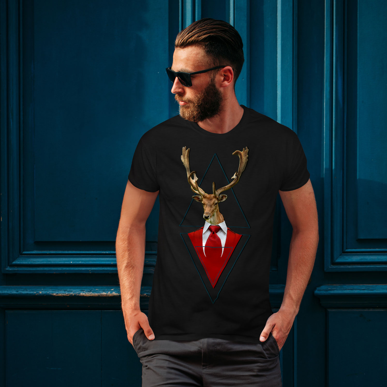 Wellcoda-Abstract-Animal-T-shirt-Homme-chic-design-graphique-imprime-Tee miniature 4