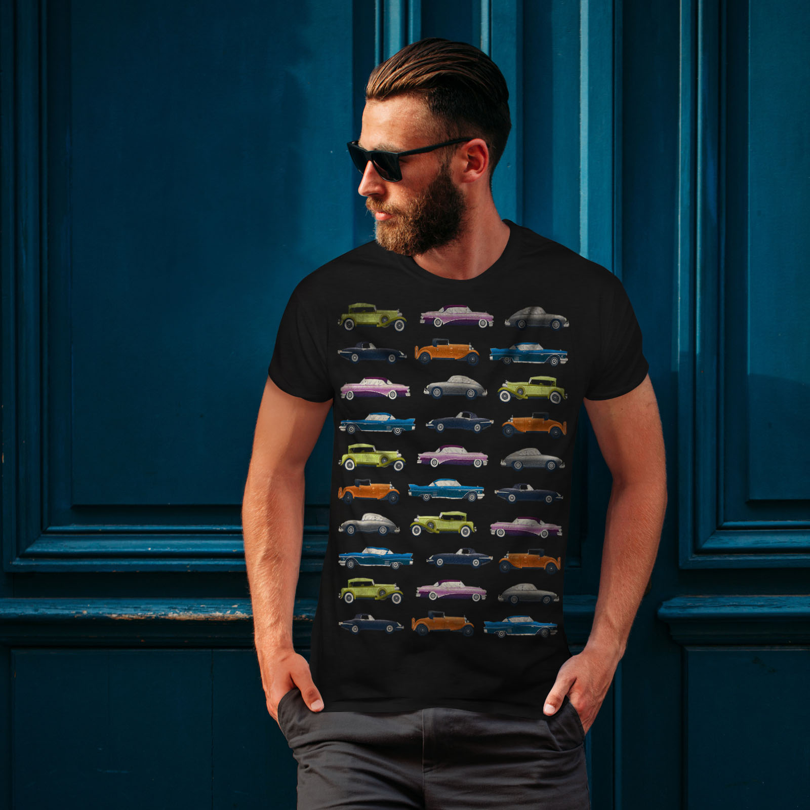 Wellcoda-Classic-Old-Pattern-Car-Mens-T-shirt-Retro-Graphic-Design-Printed-Tee thumbnail 4