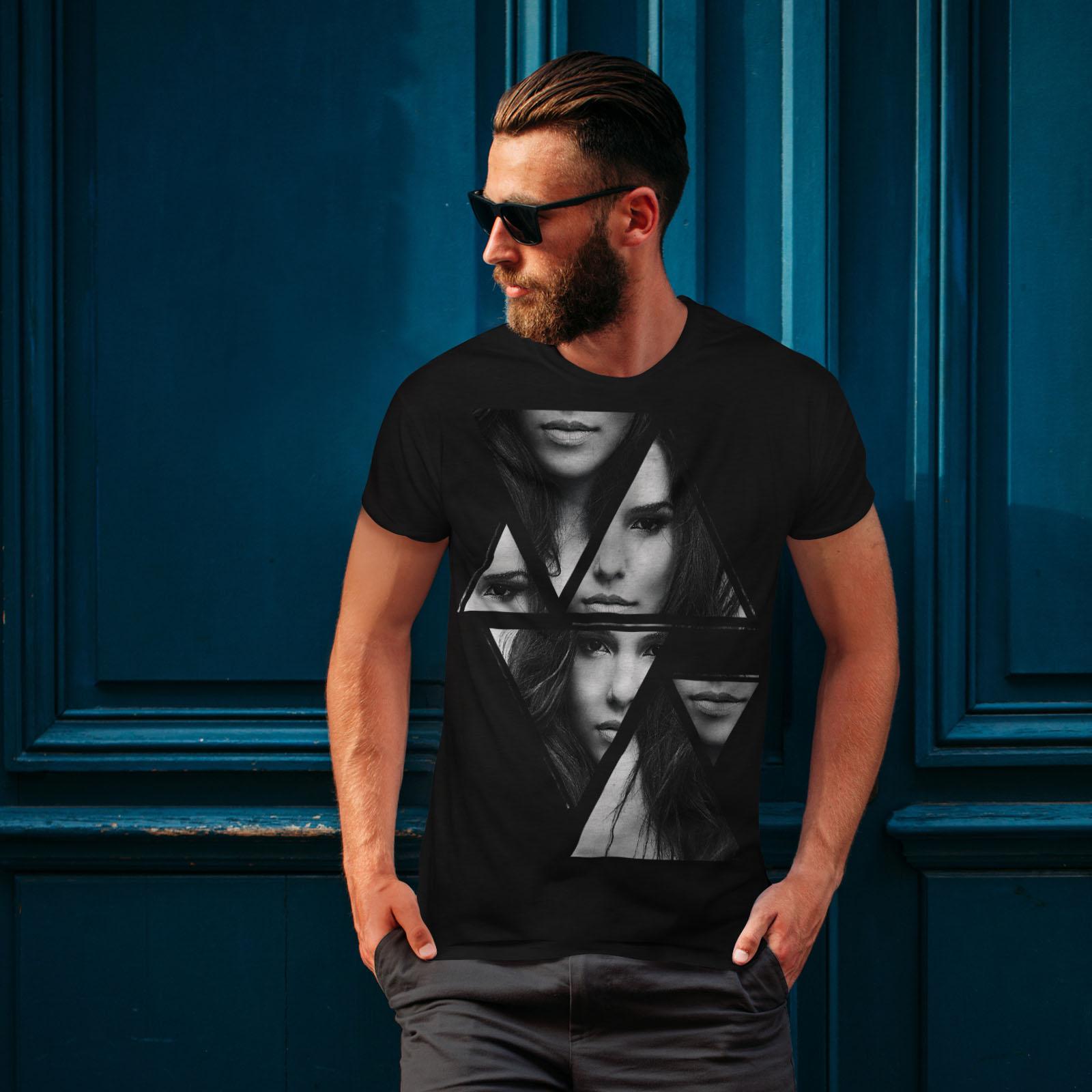 Wellcoda-Art-Fashion-Face-T-shirt-homme-Abstract-Design-graphique-imprime-Tee miniature 4