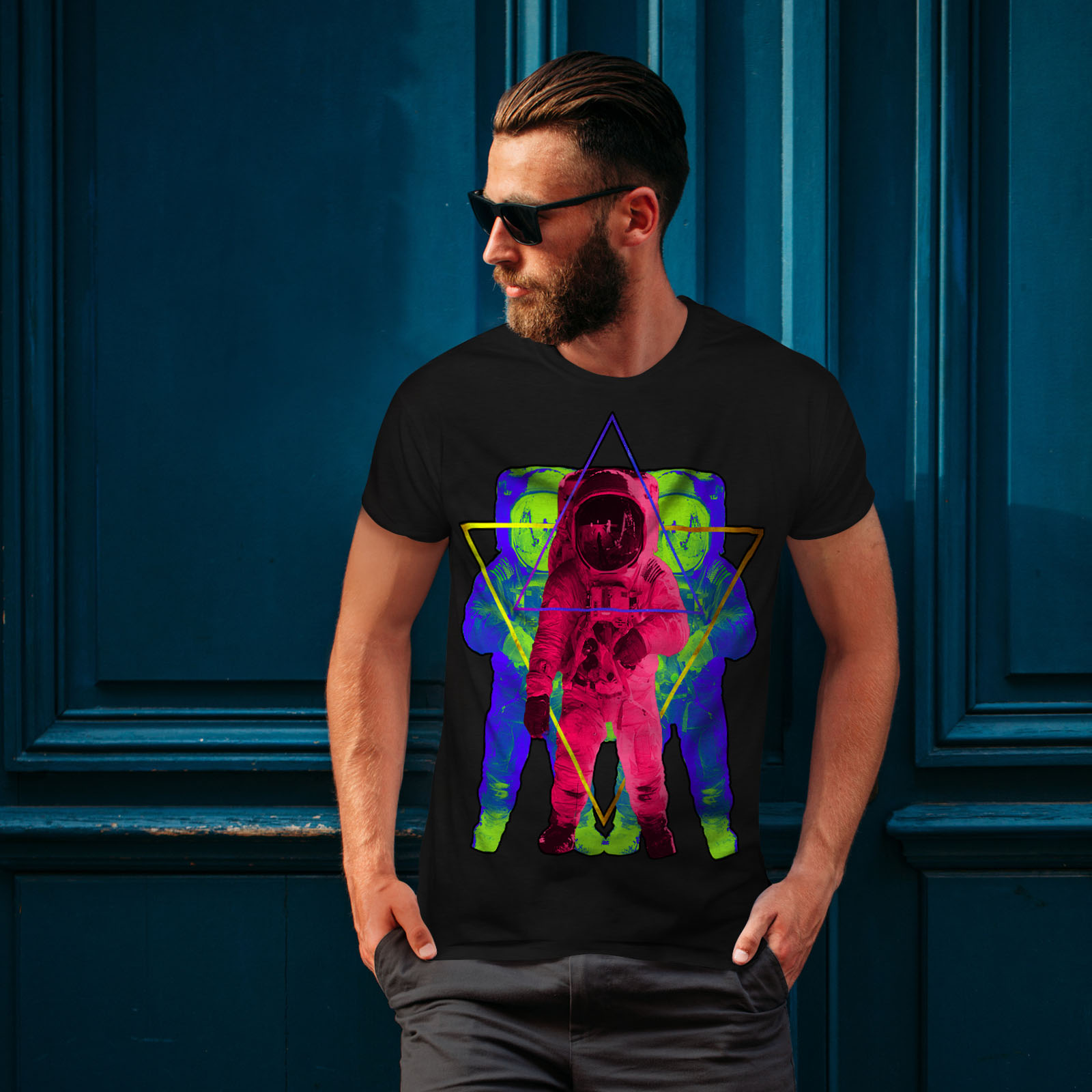 Wellcoda-Psychedelic-Astronaut-Mens-T-shirt-Star-Graphic-Design-Printed-Tee thumbnail 4