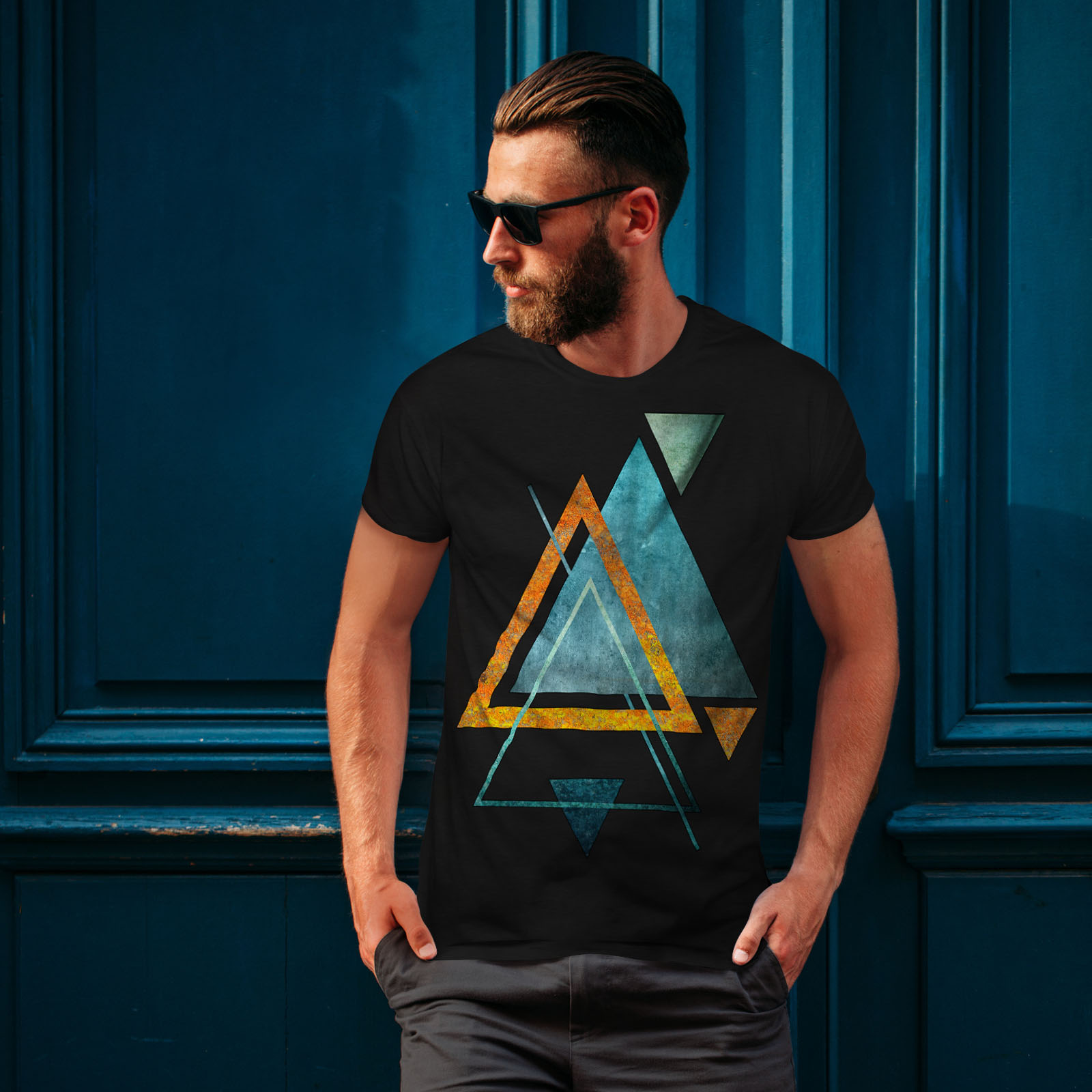 Wellcoda-Abstract-Triangle-T-shirt-homme-forme-design-graphique-imprime-Tee miniature 4