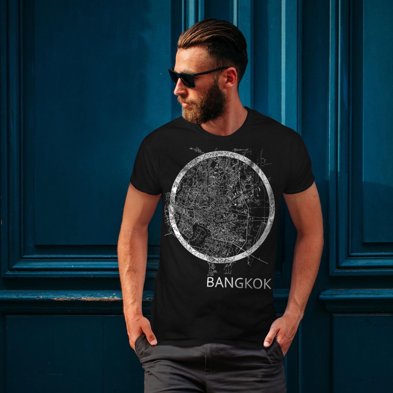 Wellcoda-Thailand-Bangkok-Map-Mens-T-shirt-Big-Graphic-Design-Printed-Tee thumbnail 4