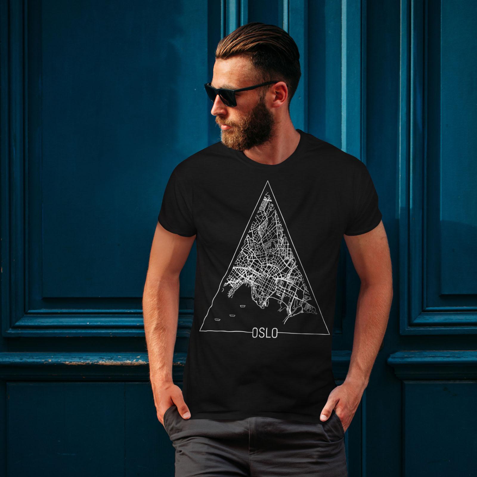 Wellcoda-Norvegia-Big-City-Oslo-da-uomo-T-shirt-Citta-design-grafico-stampato-T-shirt miniatura 4