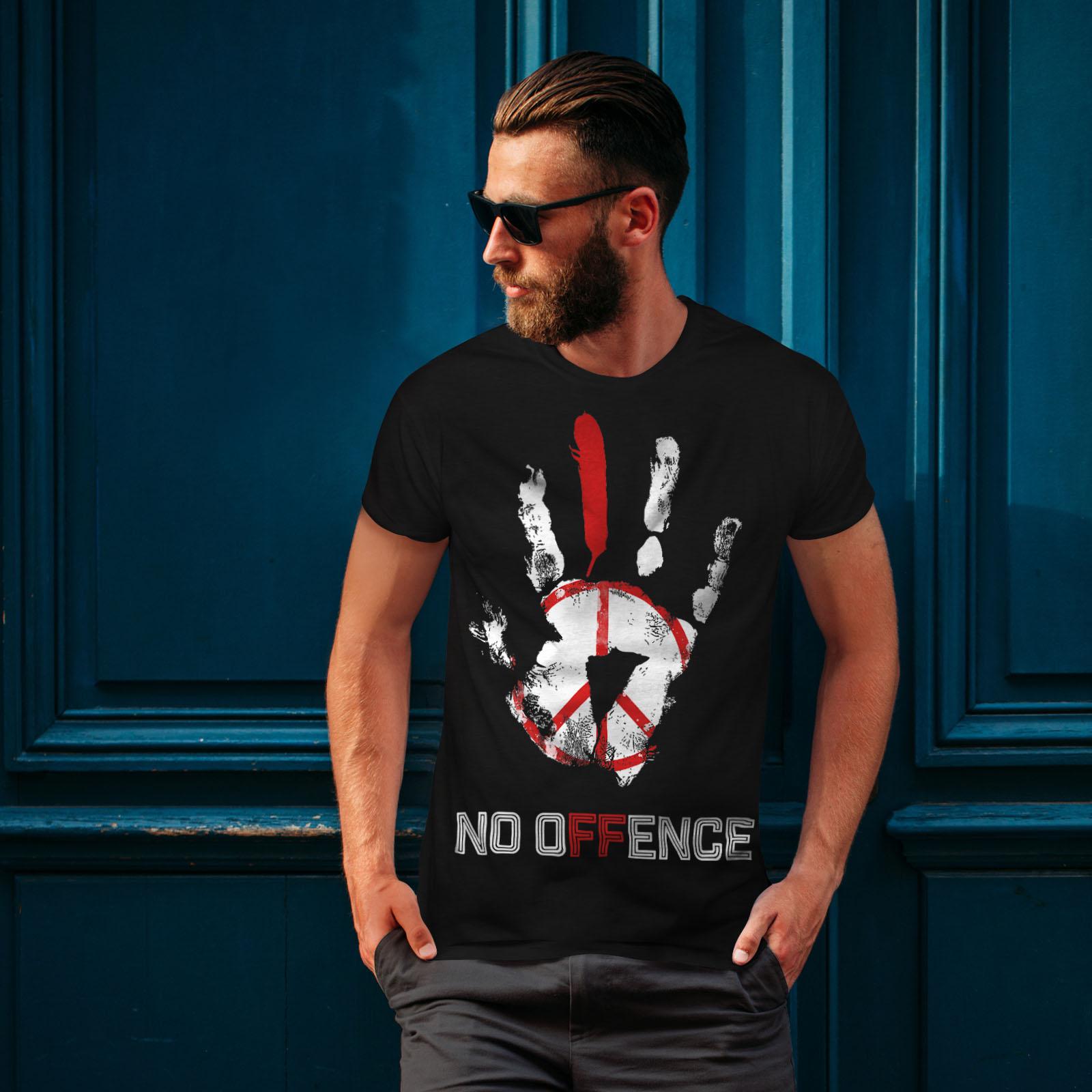 Wellcoda No Offence Peace Slogan Mens T-shirt World Graphic Design Printed Tee