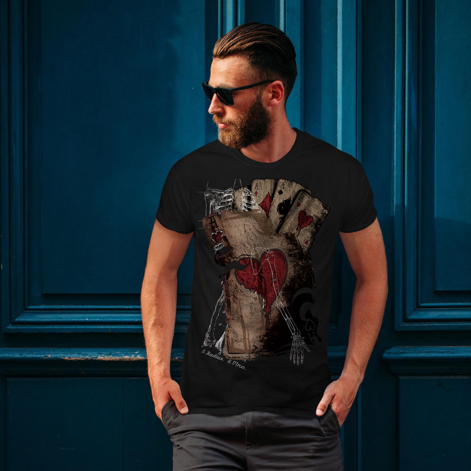 Wellcoda-Poker-Gamble-Squelette-T-shirt-homme-effrayant-conception-graphique-imprime-Tee miniature 4