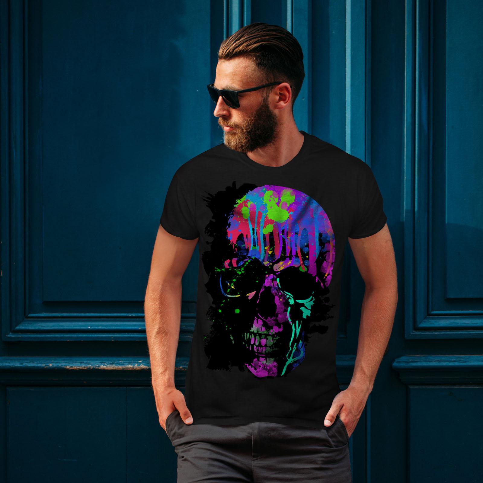 Wellcoda-Skull-Artsy-Mens-T-shirt-Neon-Night-Graphic-Design-Printed-Tee thumbnail 4