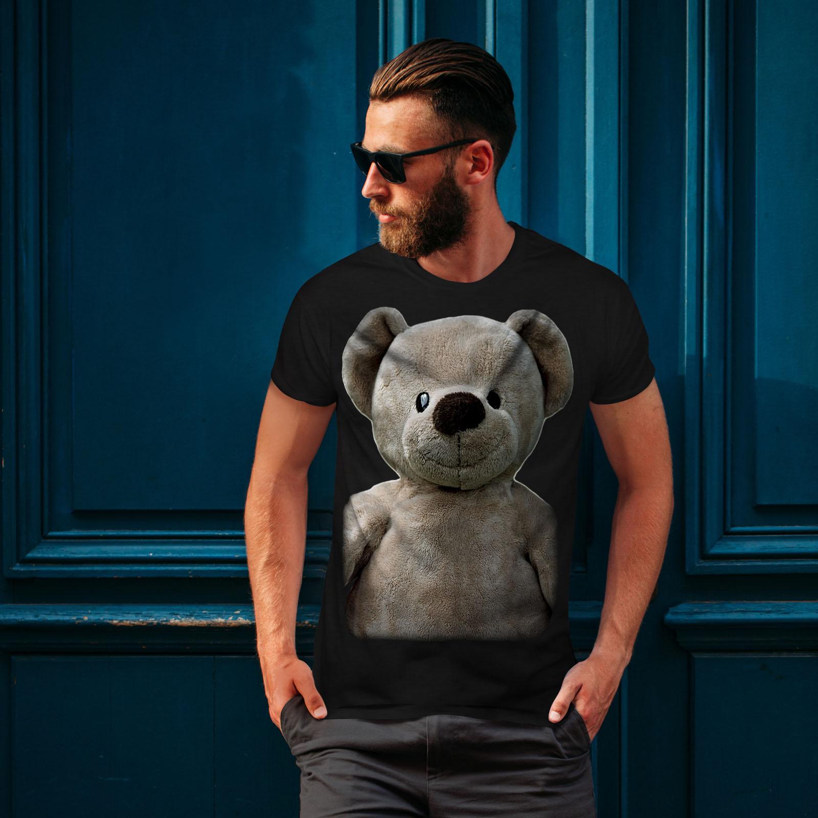 miniature 4 - Wellcoda Cute Plush Mens T-shirt, Teddy Bear Graphic Design Printed Tee