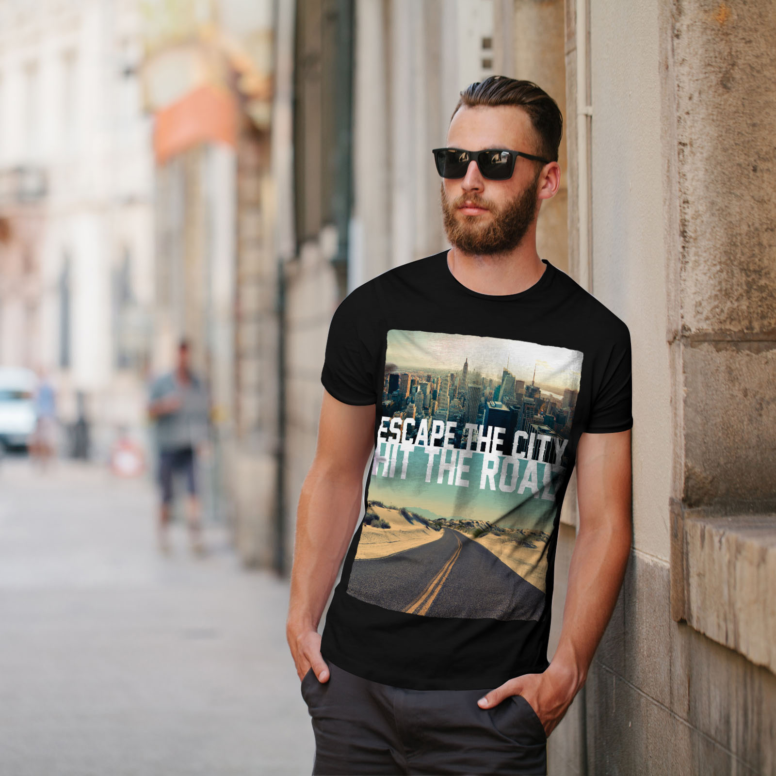 Wellcoda-Escape-The-City-Herren-T-Shirt-Lifestyle-Grafikdesign-Printed-Tee Indexbild 5