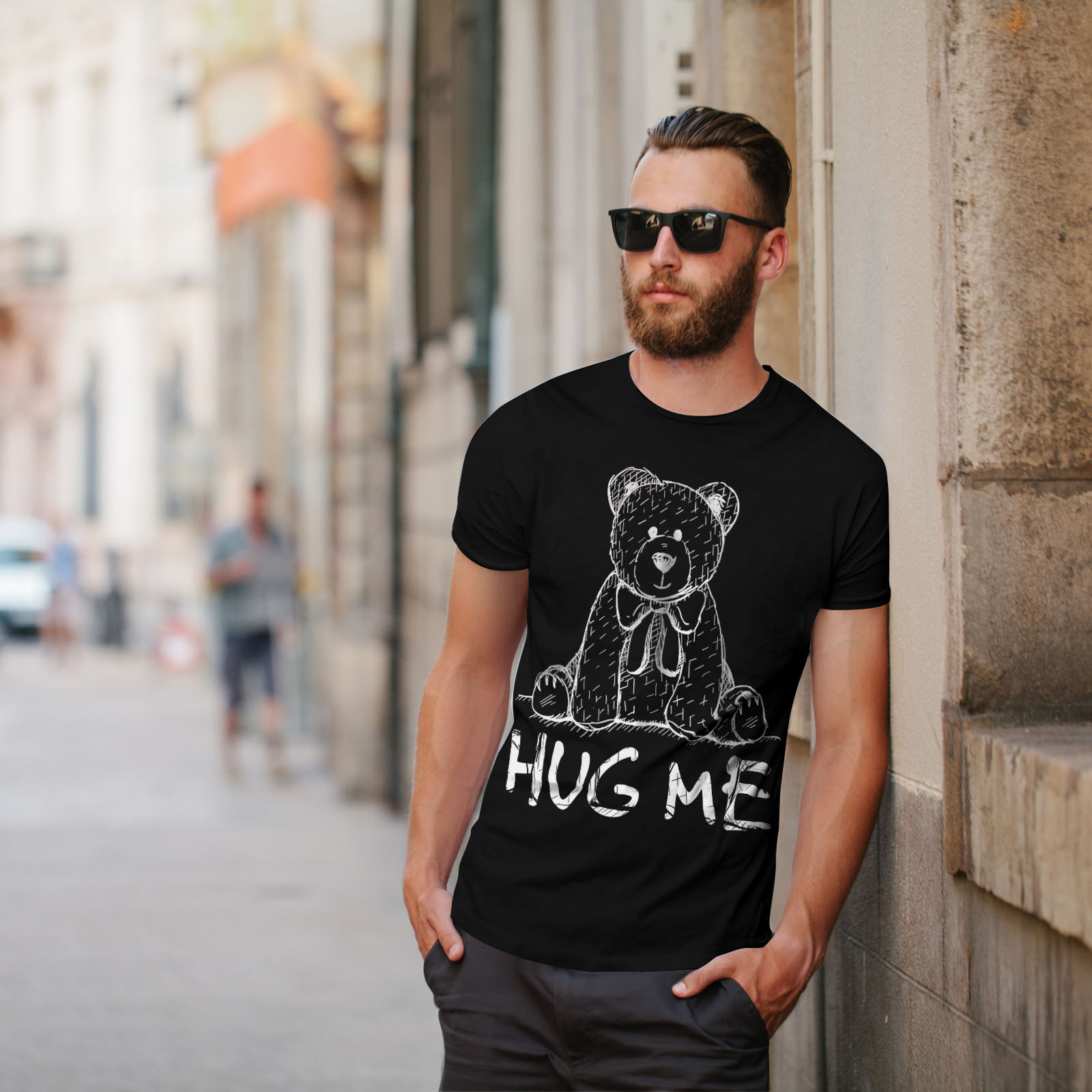 miniature 5 - Wellcoda Hug Me Teddy Bear Mens T-shirt, Nice & Graphic Design Printed Tee