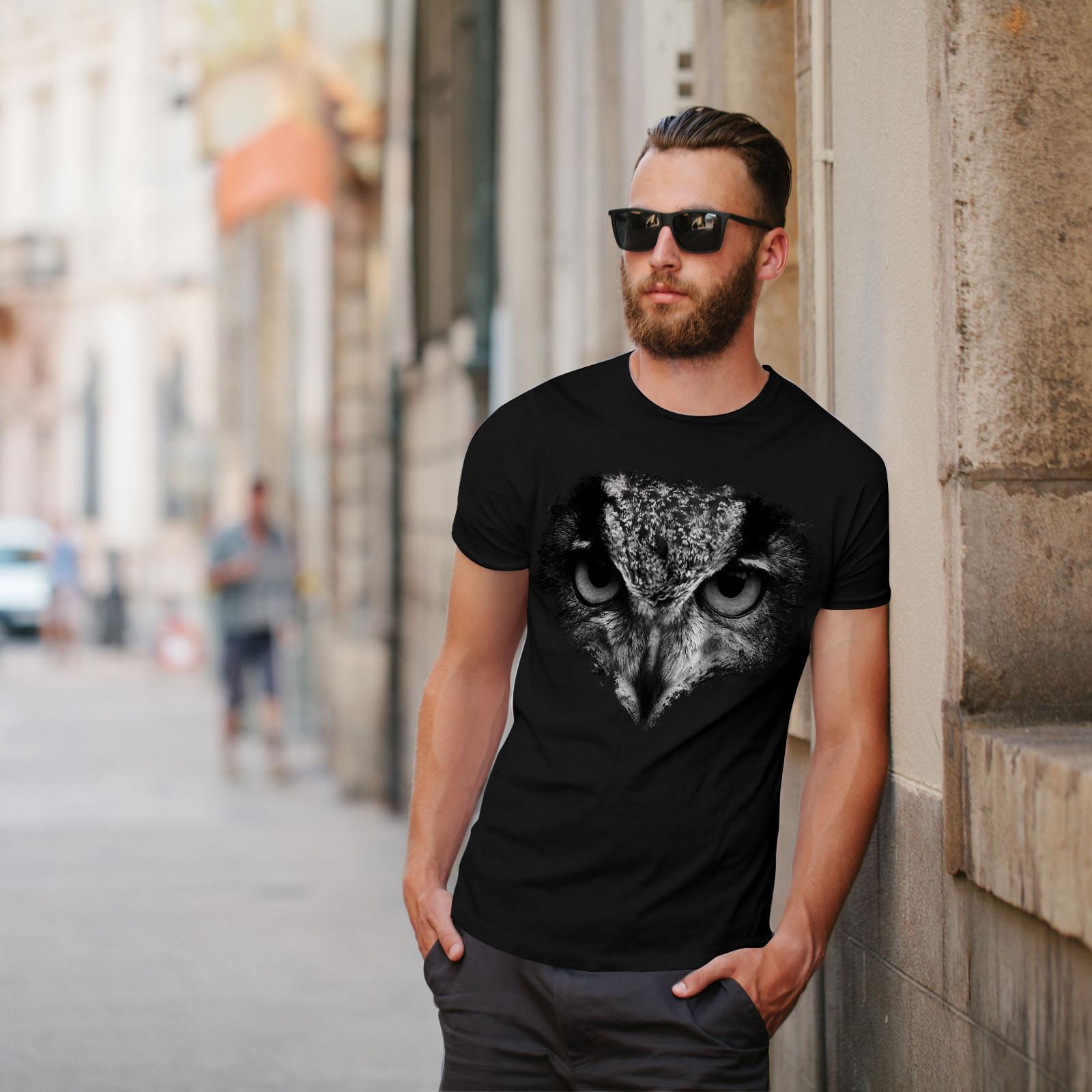 Wellcoda Owl Look Eye Cute Animal Mens T-shirt Bird Graphic Design Printed Tee