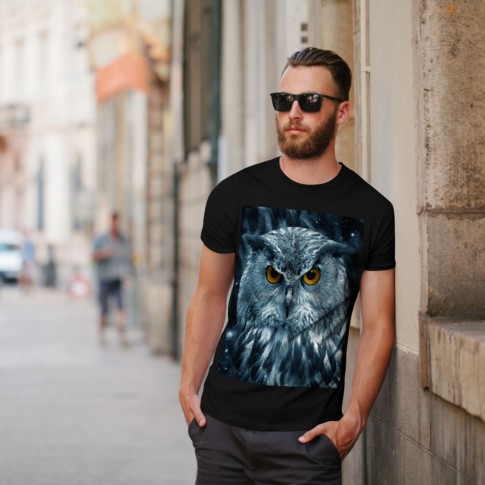 miniature 5 - Wellcoda-Wild-Looking-Owl-Mens-T-shirt-Mother-Graphic-Design-Printed-Tee