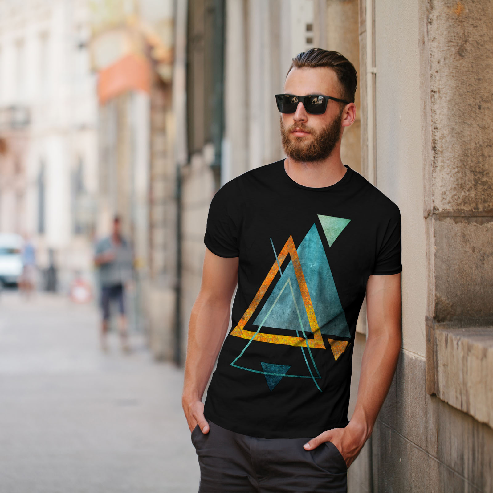 Wellcoda-Abstract-Triangle-T-shirt-homme-forme-design-graphique-imprime-Tee miniature 5