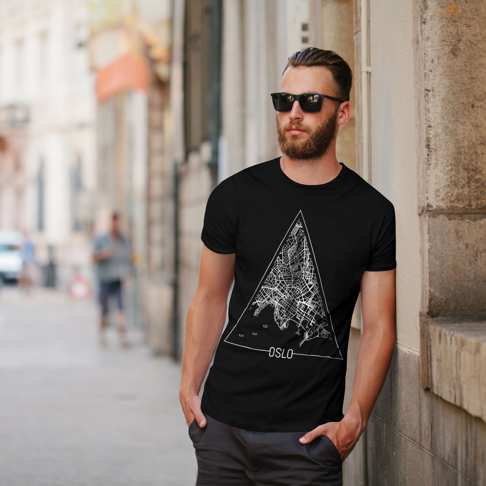 Wellcoda-Norvegia-Big-City-Oslo-da-uomo-T-shirt-Citta-design-grafico-stampato-T-shirt miniatura 5