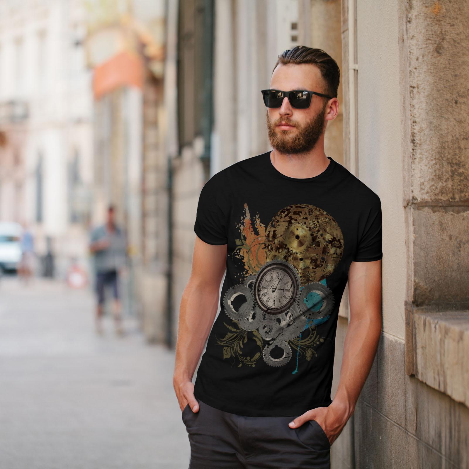 Wellcoda-Clock-Cool-Print-Mens-T-shirt-Illusion-Graphic-Design-Printed-Tee thumbnail 5