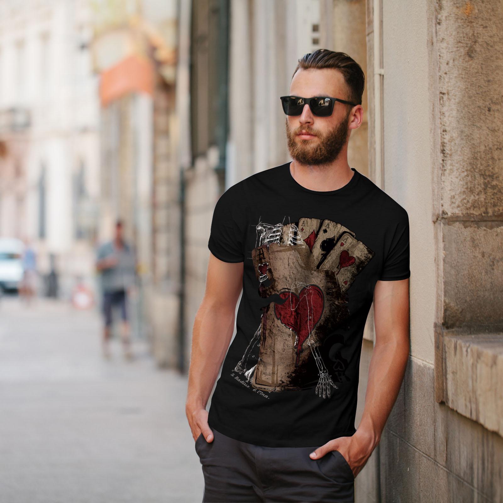 Wellcoda-Poker-Gamble-Squelette-T-shirt-homme-effrayant-conception-graphique-imprime-Tee miniature 5