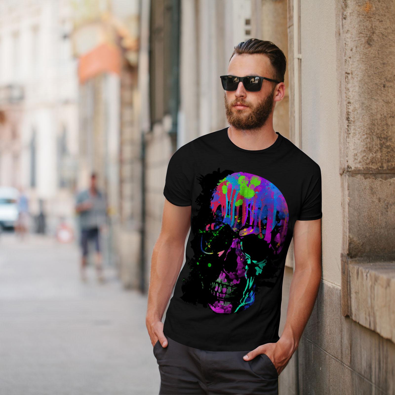 Wellcoda-Skull-Artsy-Mens-T-shirt-Neon-Night-Graphic-Design-Printed-Tee thumbnail 5