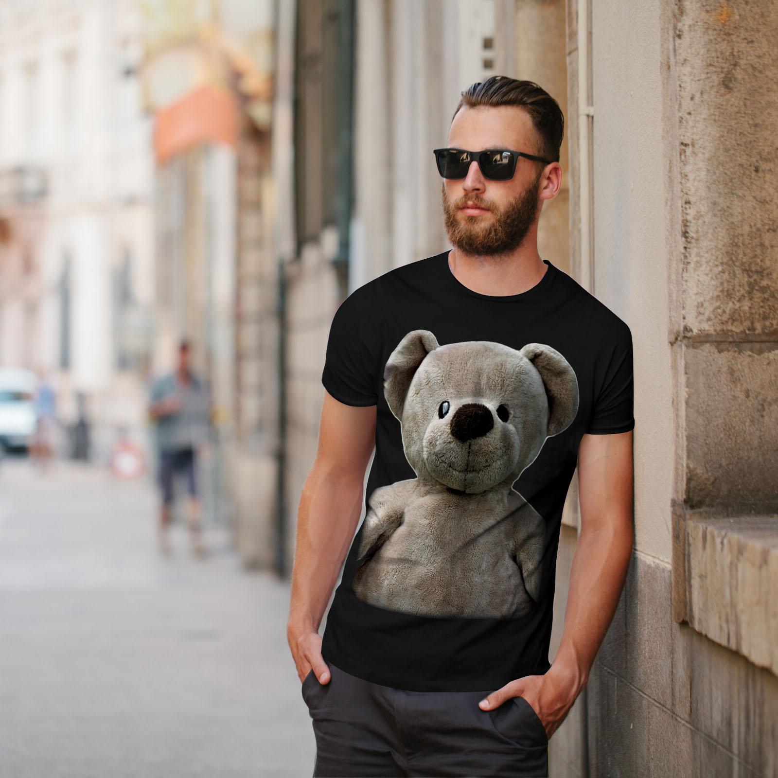 miniature 5 - Wellcoda Cute Plush Mens T-shirt, Teddy Bear Graphic Design Printed Tee