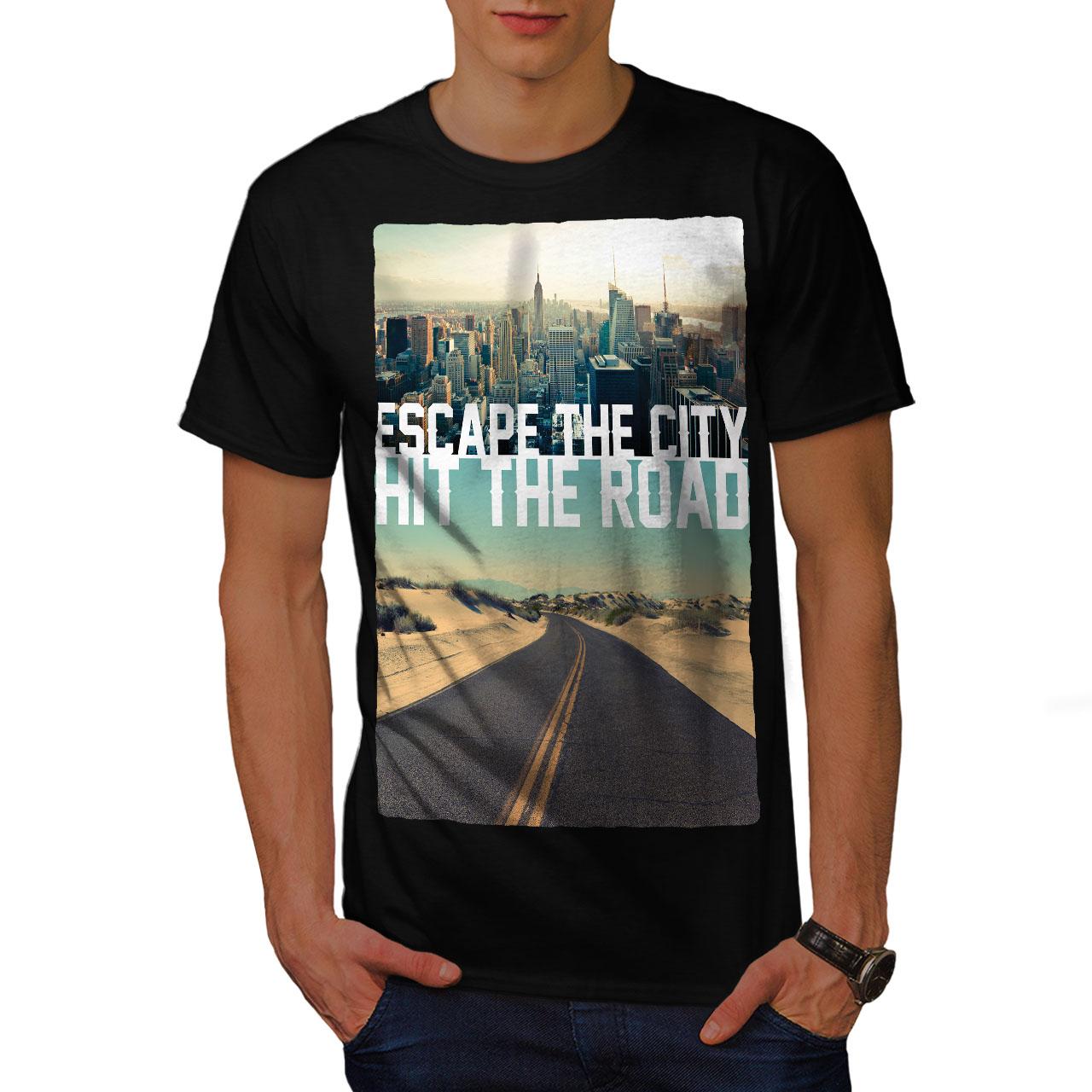 Wellcoda-Escape-The-City-Herren-T-Shirt-Lifestyle-Grafikdesign-Printed-Tee Indexbild 3