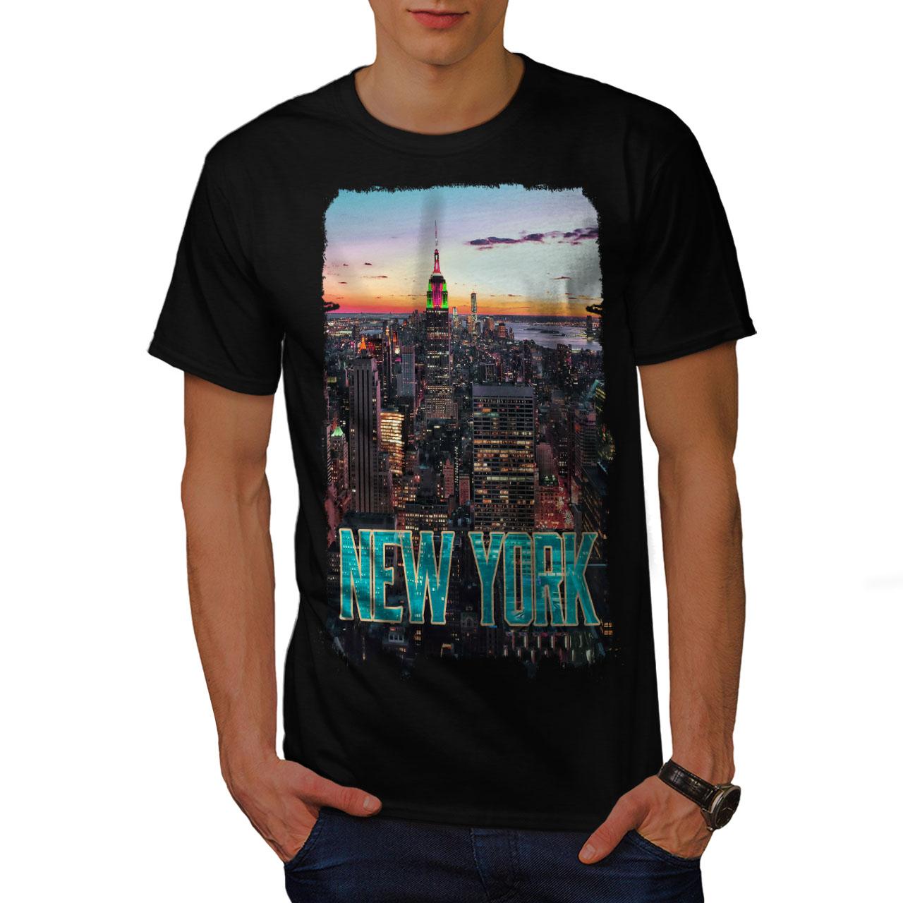 American Graphic Design Printed Tee Wellcoda New York Sunset City Mens T-shirt