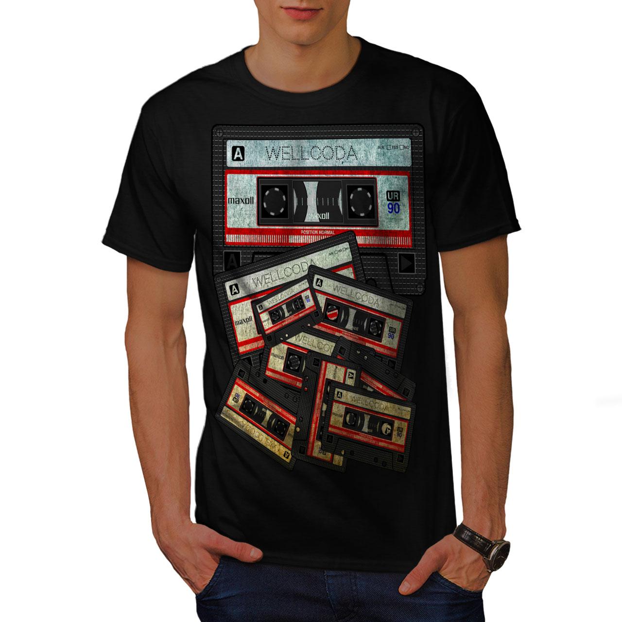 3c02b5fa Wellcoda Music Cassette Tape Mens T-shirt, 90's Graphic Design ...