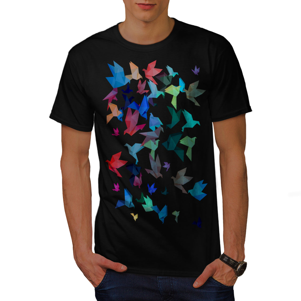 Wellcoda-Origami-Bird-Colors-Mens-T-shirt-Craft-Graphic-Design-Printed-Tee thumbnail 3