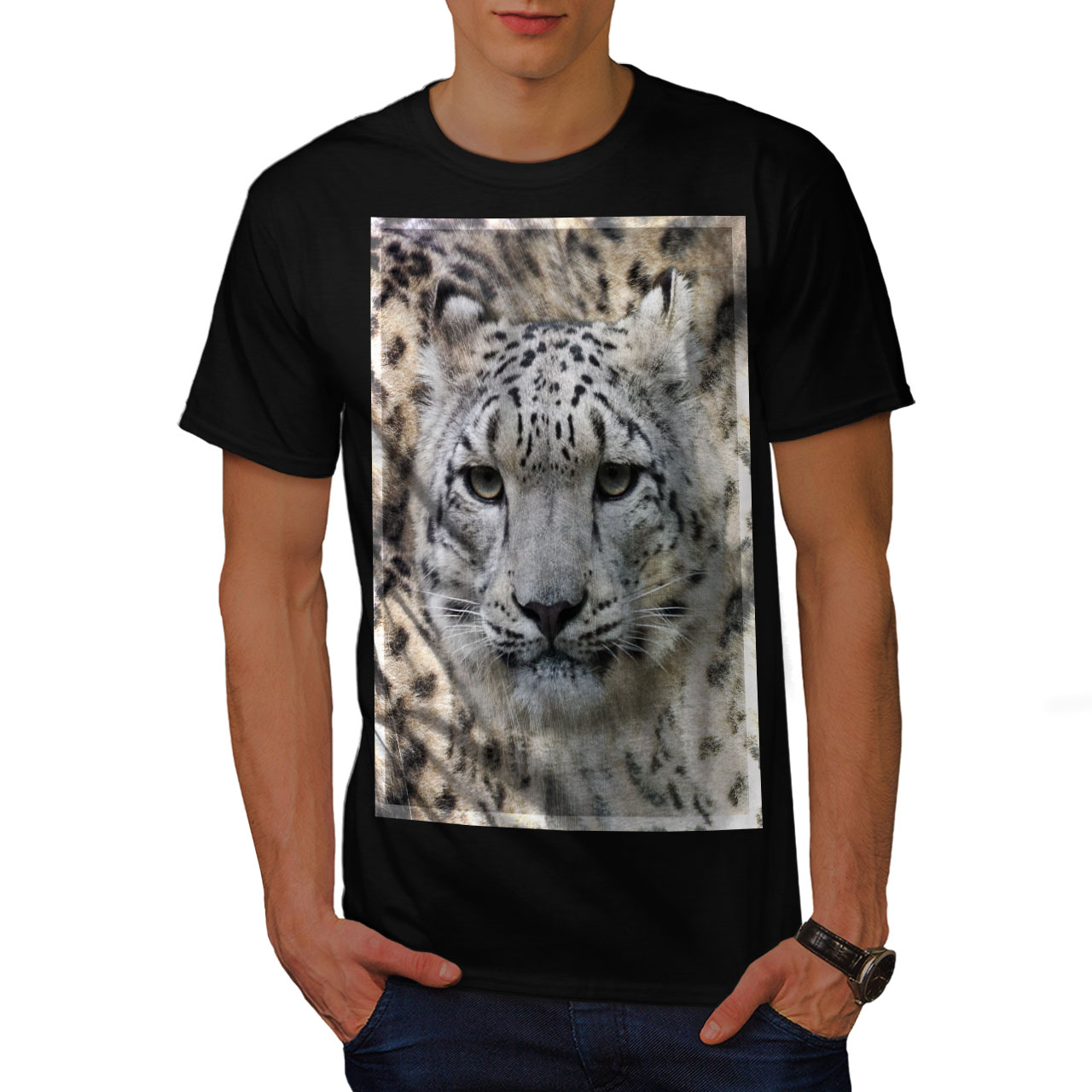 Marbled Graphic Design Printed Tee Wellcoda Big cat Beast Wild Mens T-shirt