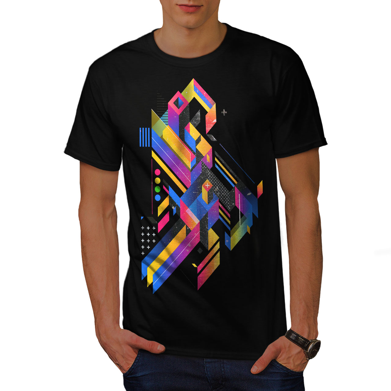 Wellcoda-Abstract-Maze-T-shirt-homme-Labyrinthe-conception-graphique-imprime-Tee miniature 3