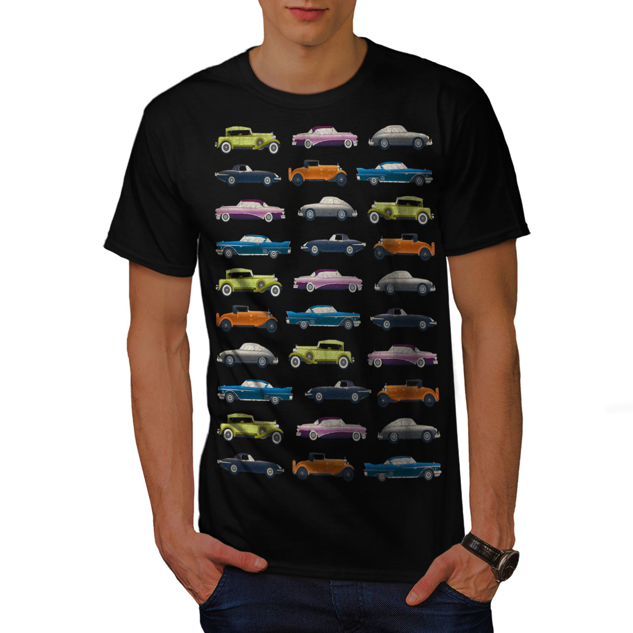 Wellcoda-Classic-Old-Pattern-Car-Mens-T-shirt-Retro-Graphic-Design-Printed-Tee thumbnail 3
